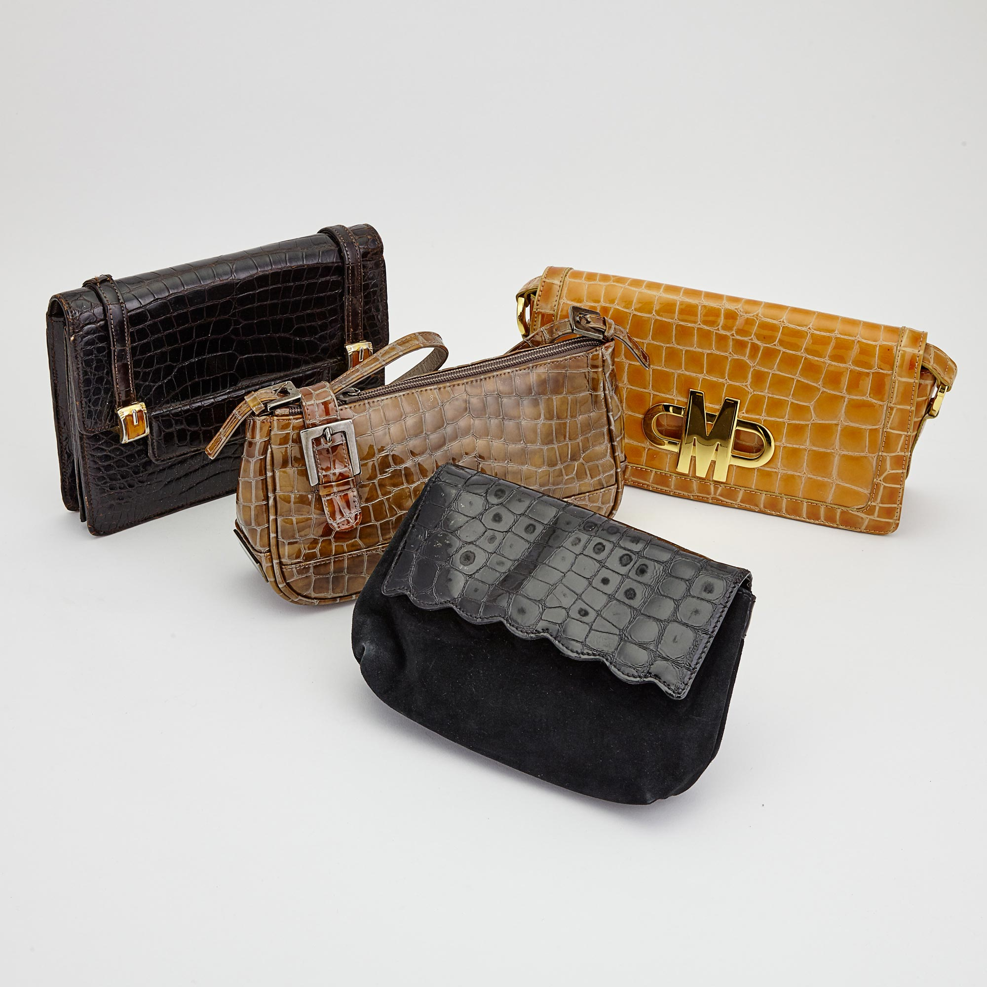 Lot image - Two Alligator Leather Handbags, Moschino and Stuart Weitzman, and Two Clutches, Saks Fifth Avenue and Mangiameli