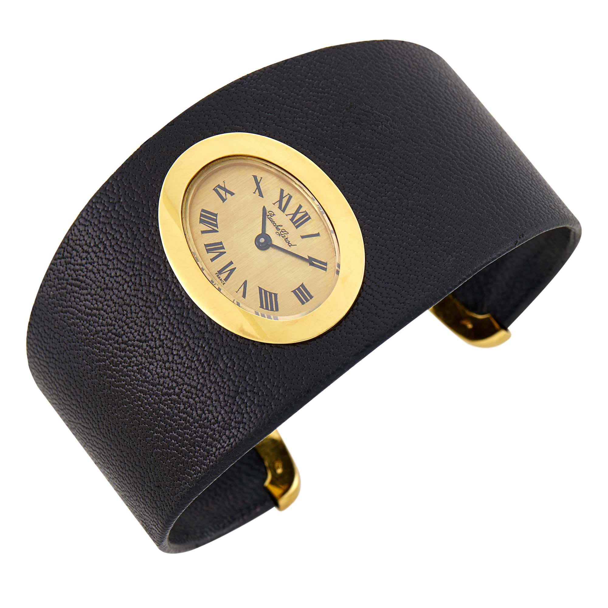 Lot image - Bueche Girod Leather and Gold Cuff Bracelet-Watch, France