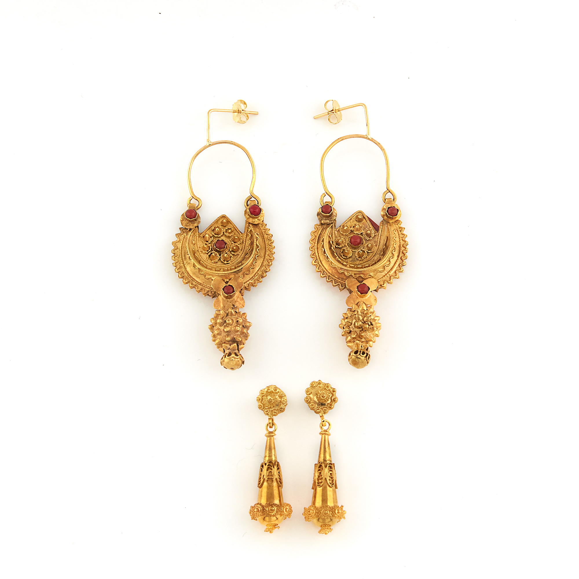 Lot image - Two Pairs of Gold Pendant-Earrings