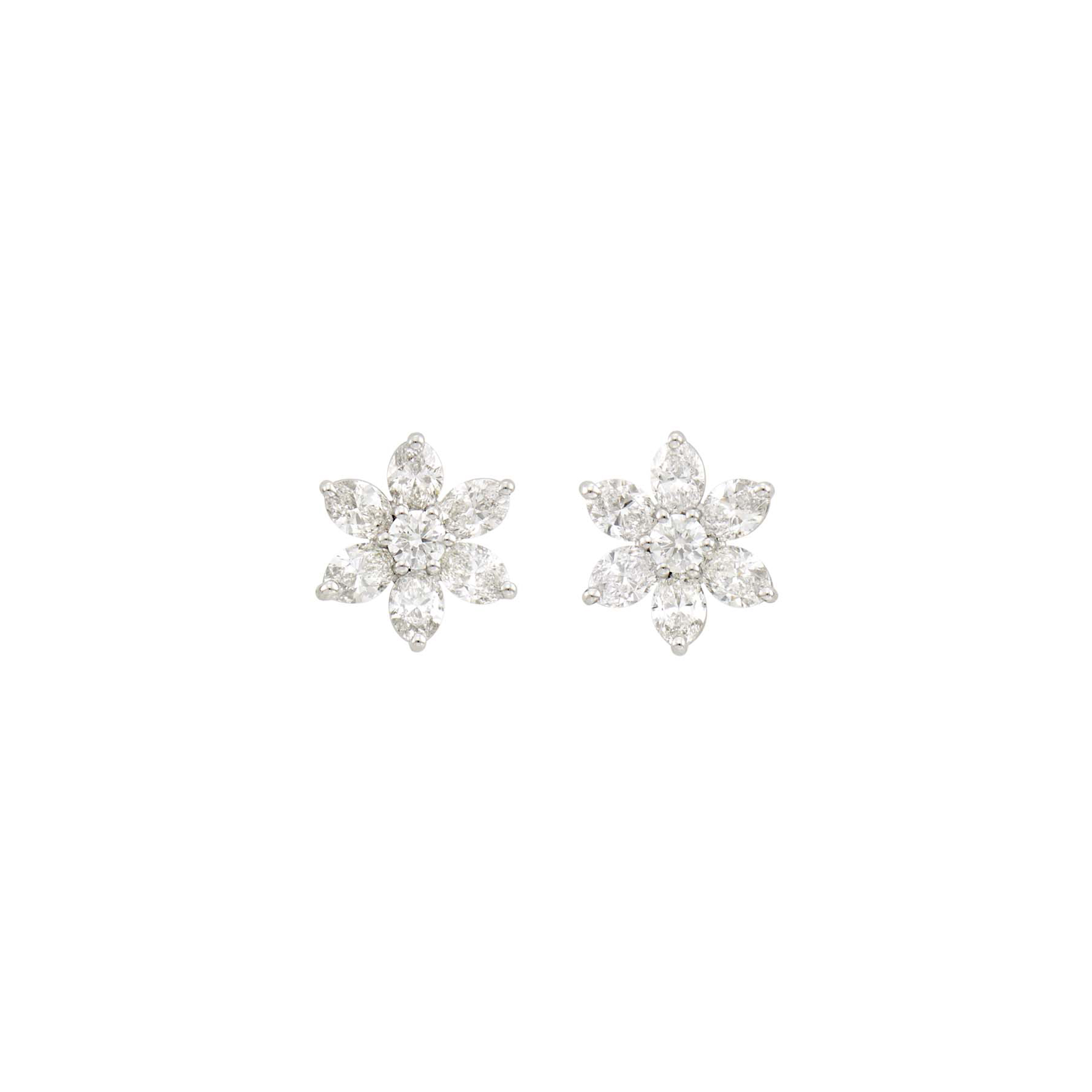 Lot image - Pair of Platinum and Diamond Earrings