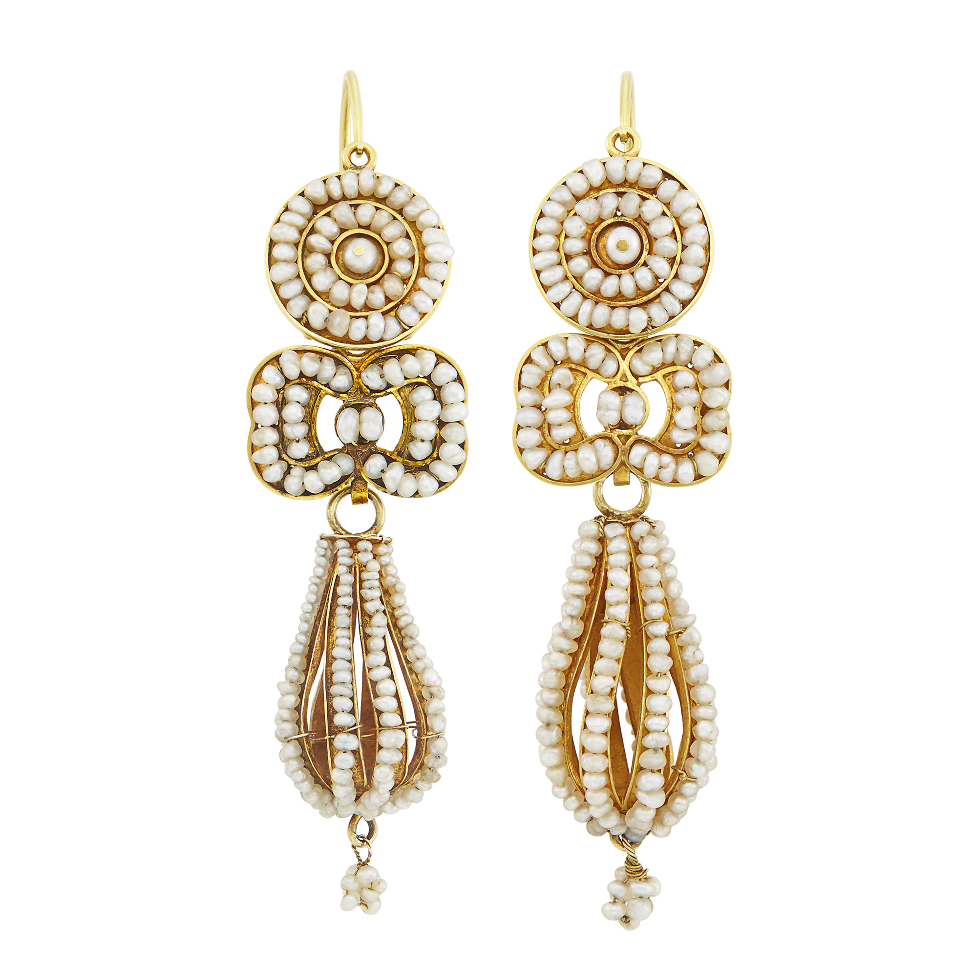 Lot image - Pair of Antique Gold and Seed Pearl Pendant-Earrings