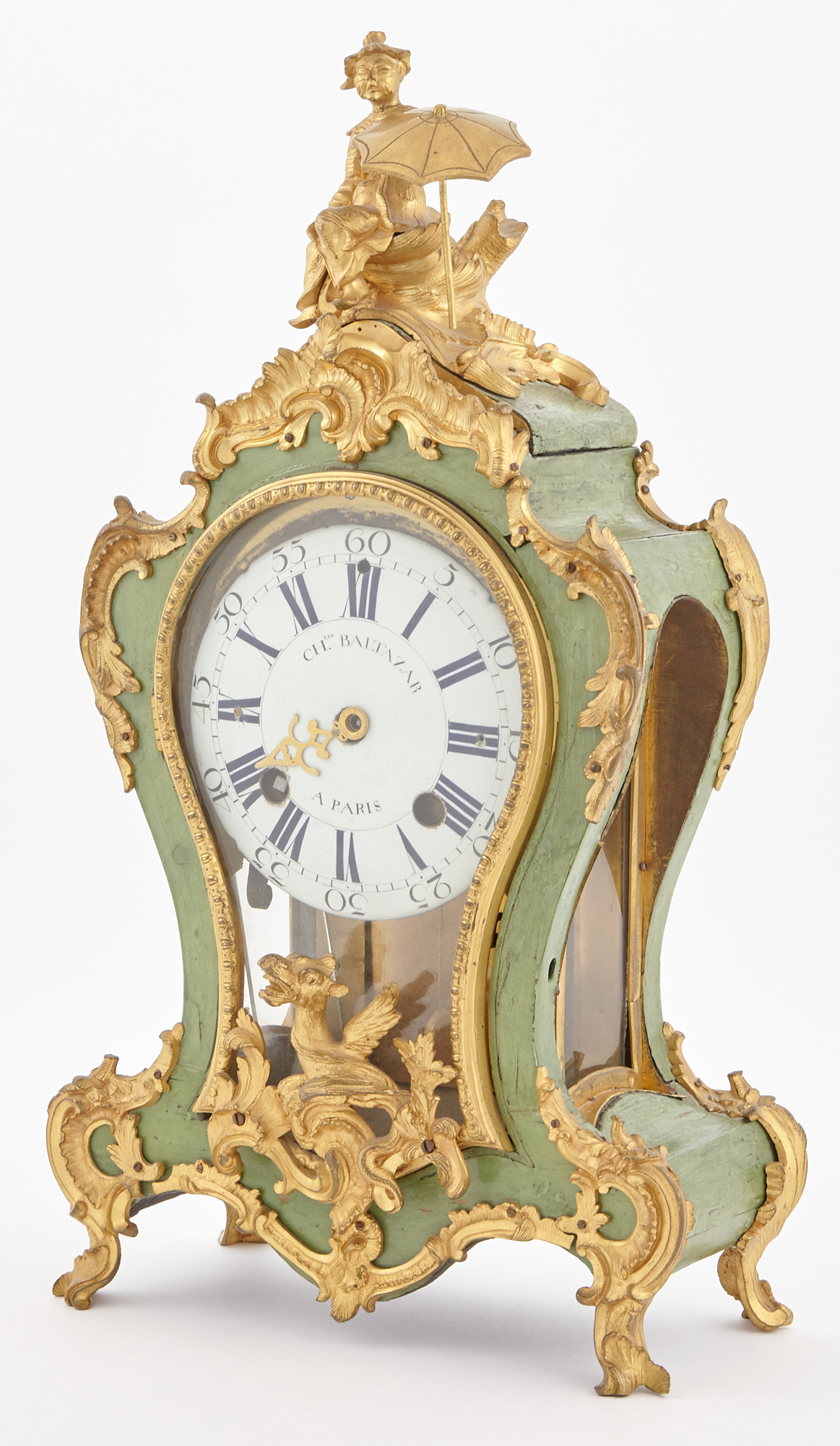 Lot image - Louis XV Style Gilt-Bronze Mounted Green-Painted Bracket Clock