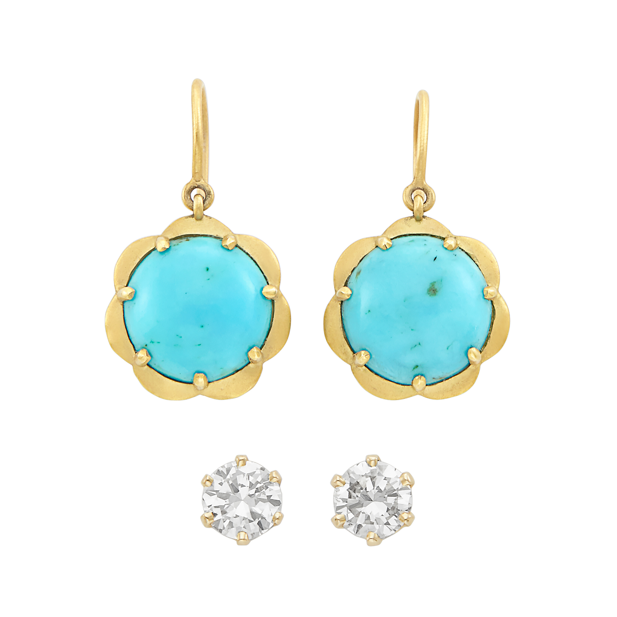 Lot image - Pair of Gold and Turquoise Pendant-Earrings, by Jamie Wolf, and Gold and Diamond Stud Earrings