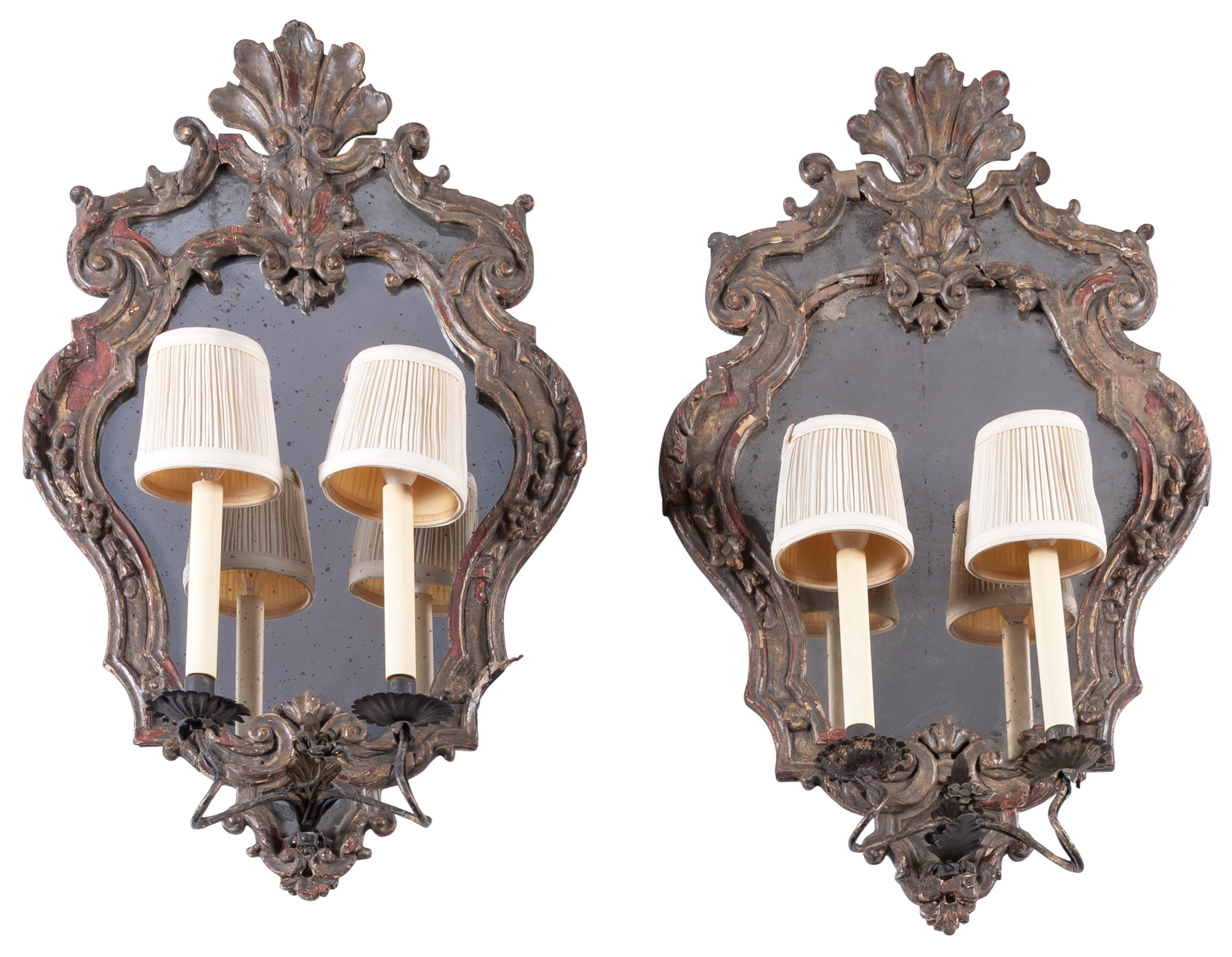 Lot image - Pair of Italian Mecca-Decorated Two-Light Girandoles