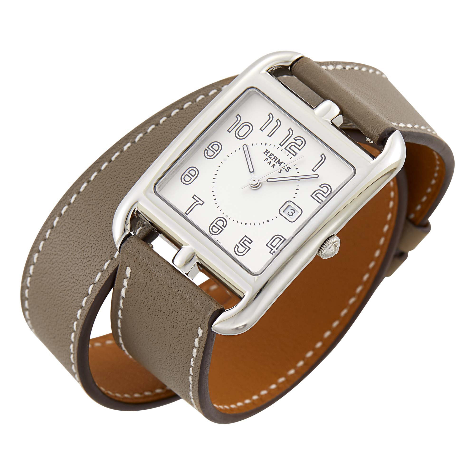 Lot image - Hermès Stainless Steel Cape Cod Wristwatch