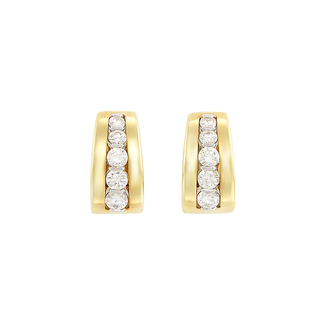 Lot image - Pair of Gold and Diamond Earrings, Tiffany & Co.