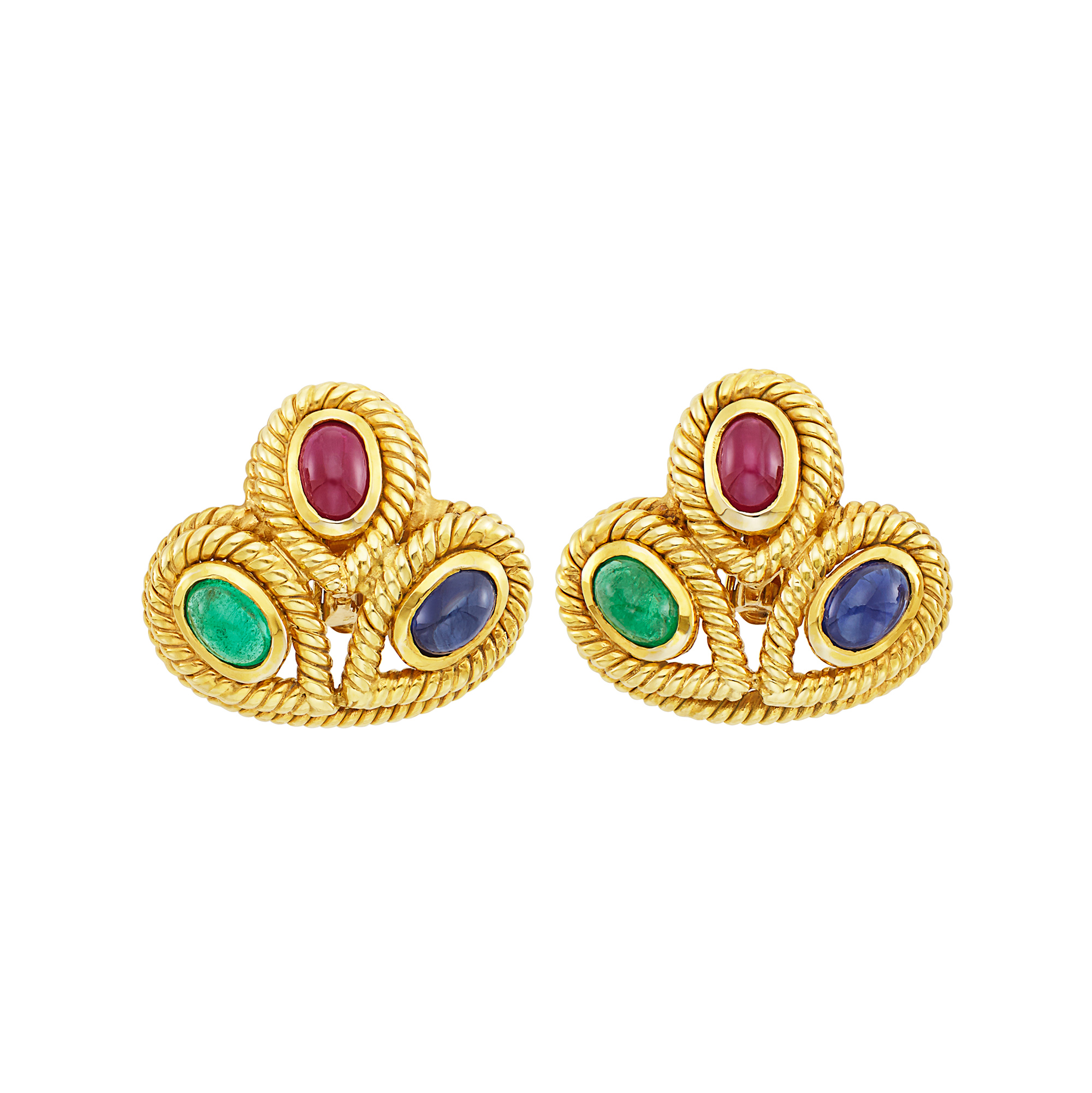 Lot image - Pair of Gold and Cabochon Colored Stone Earclips