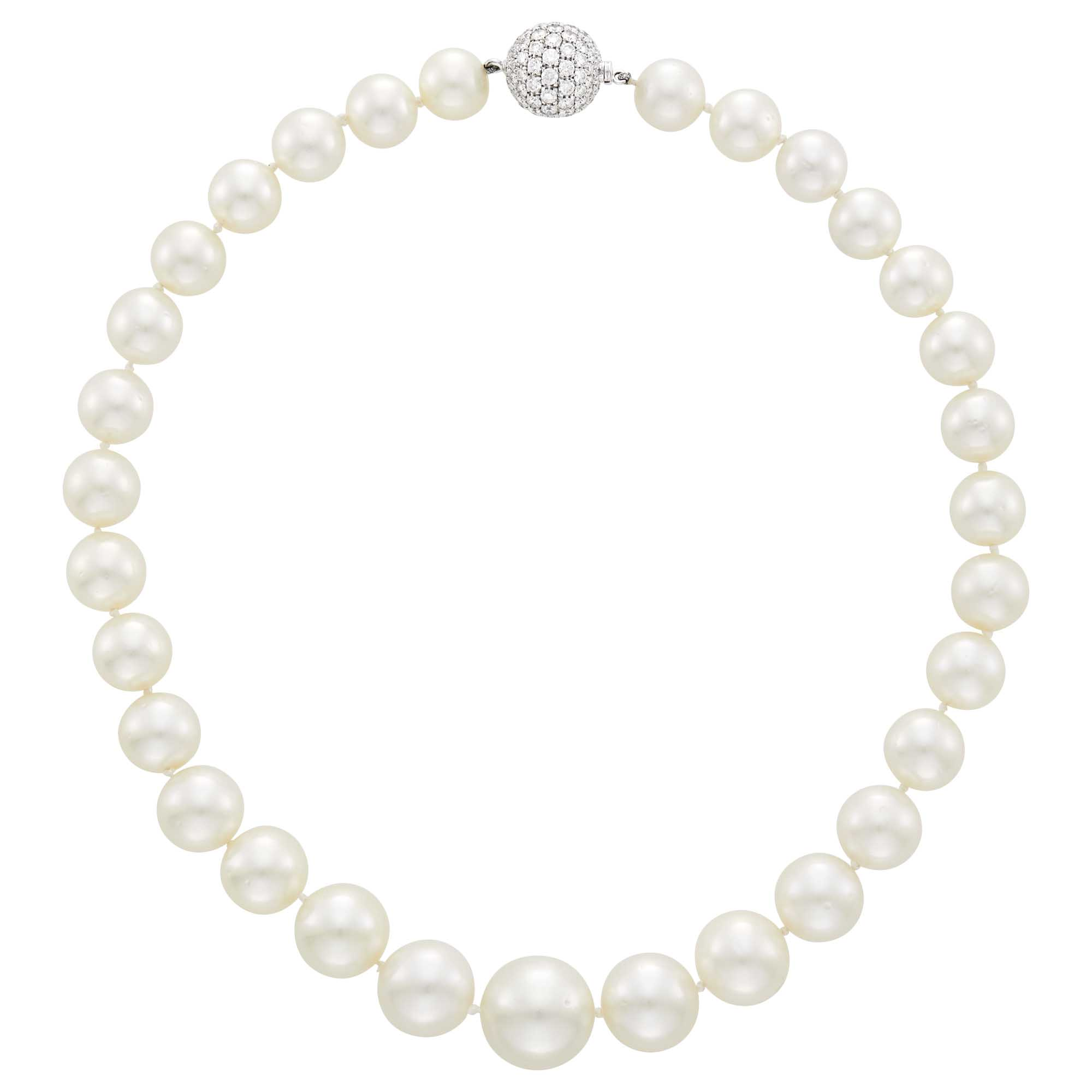 Lot image - South Sea Cultured Pearl Necklace with White Gold and Diamond Ball Clasp