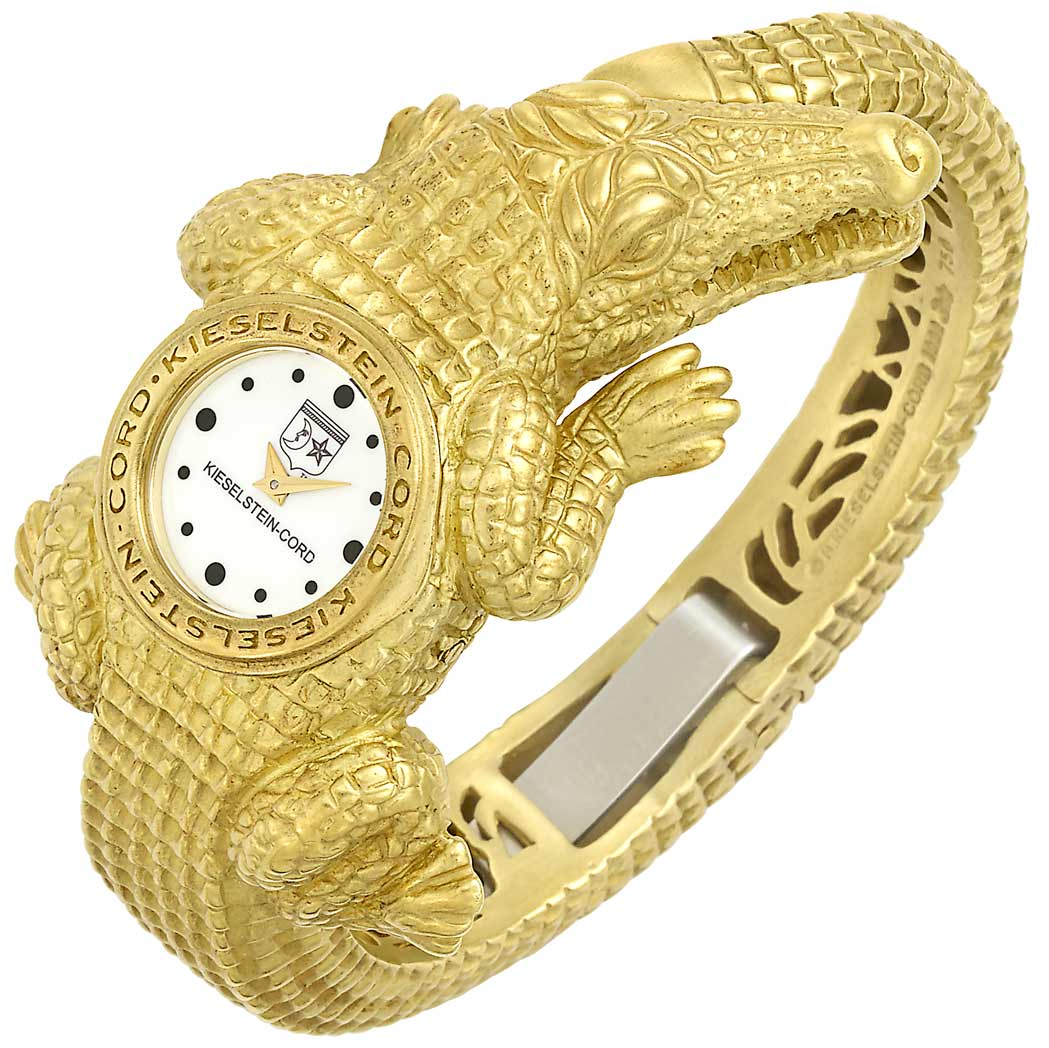 Lot image - Gold Alligator Bangle-Watch, Barry Kieselstein-Cord
