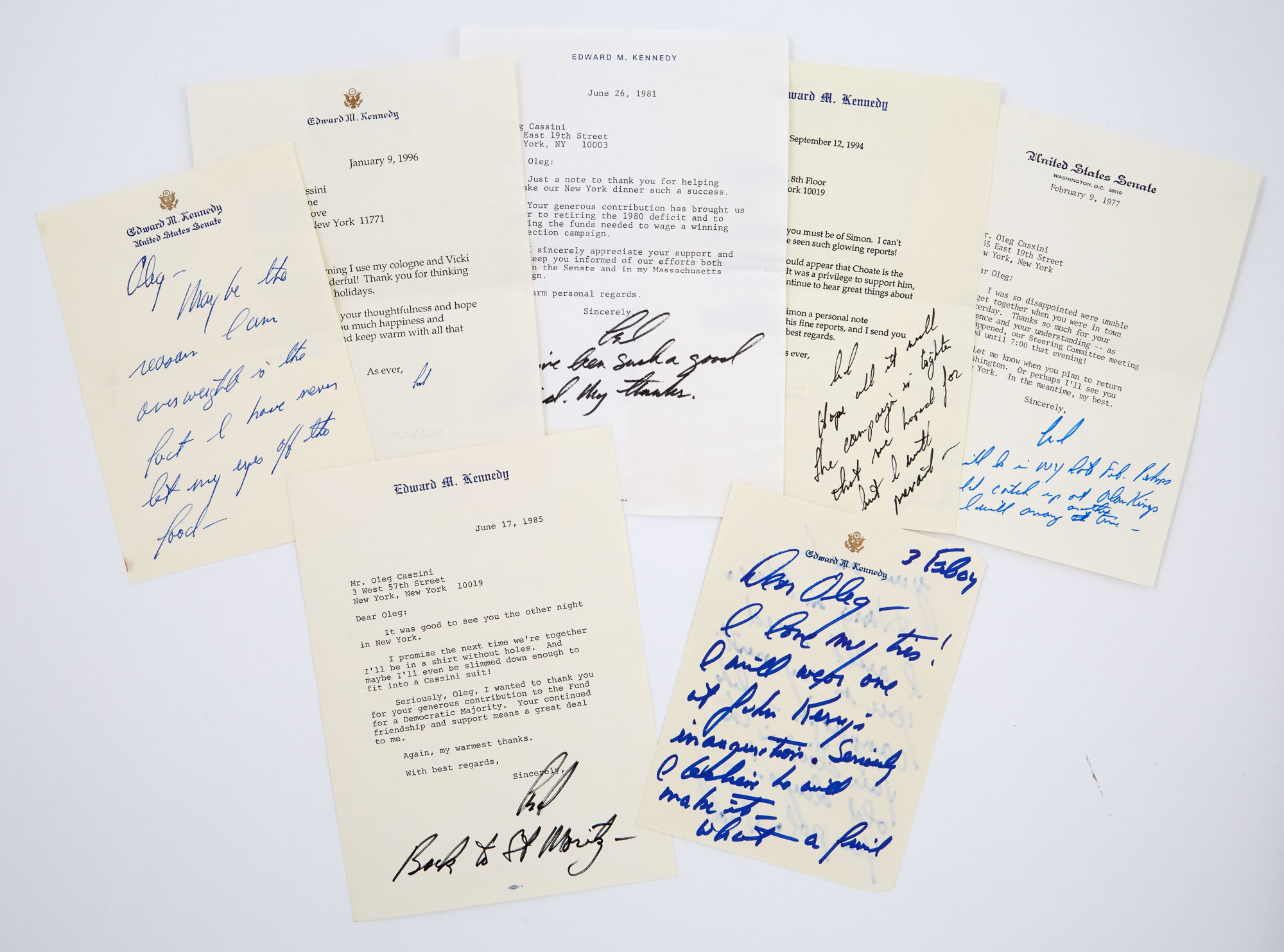 Lot image - KENNEDY, EDWARD  Large group of letters and notes to Oleg Cassini.