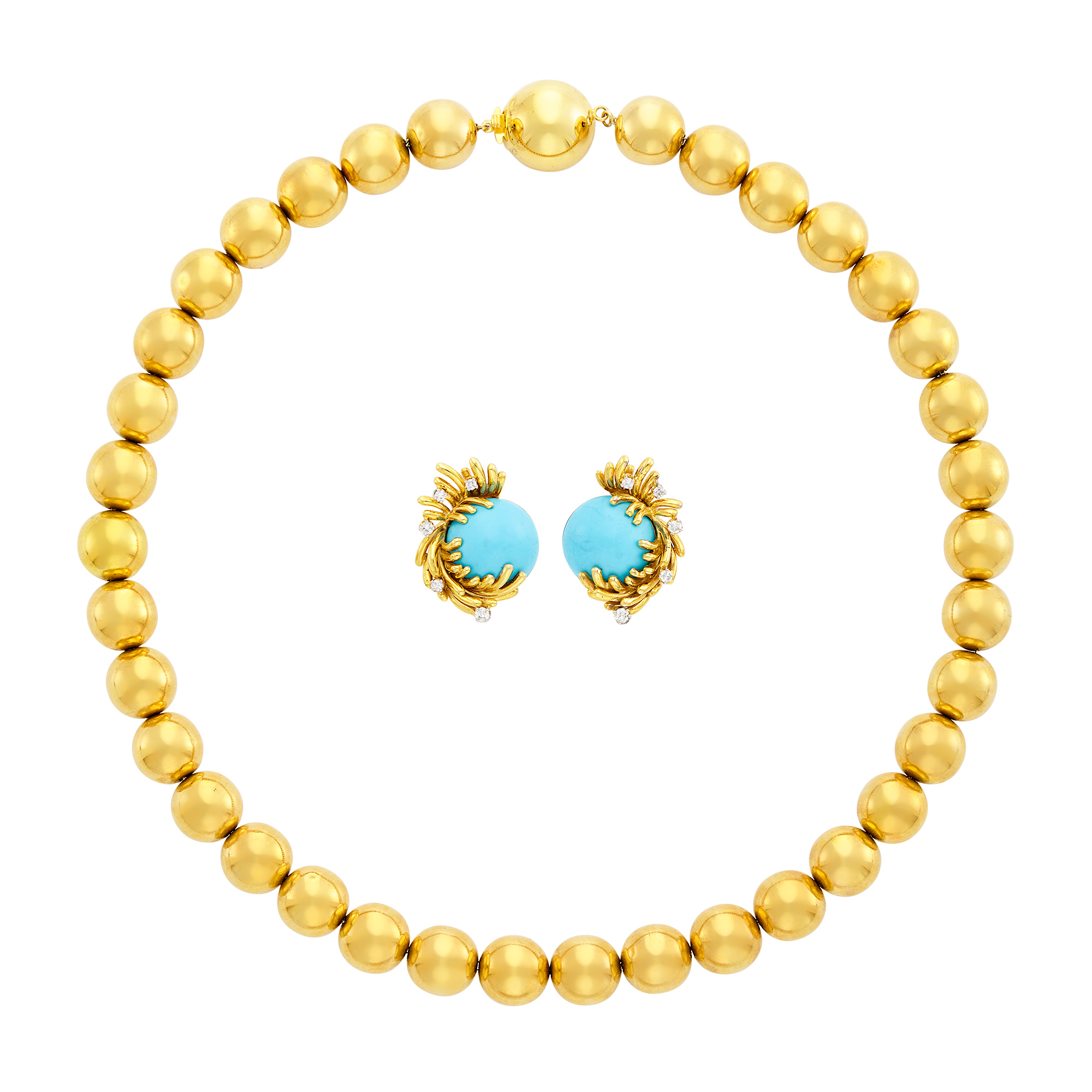 Lot image - Pair of Gold, Dyed Magnesite and Diamond Earclips, France, and Gold Bead Necklace