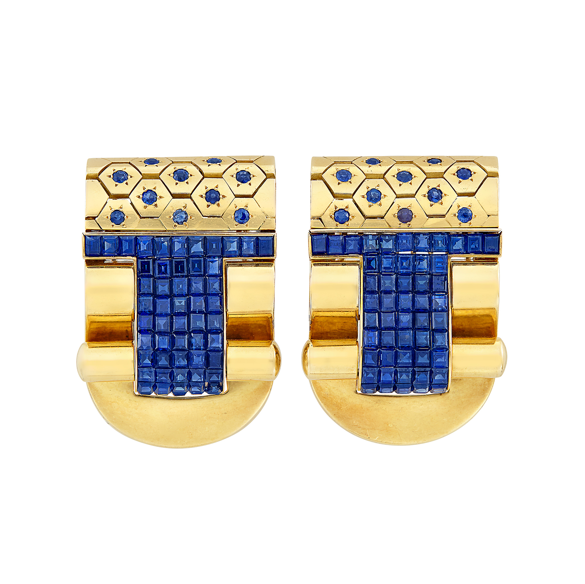 Lot image - Pair of Gold and Sapphire Clips, France