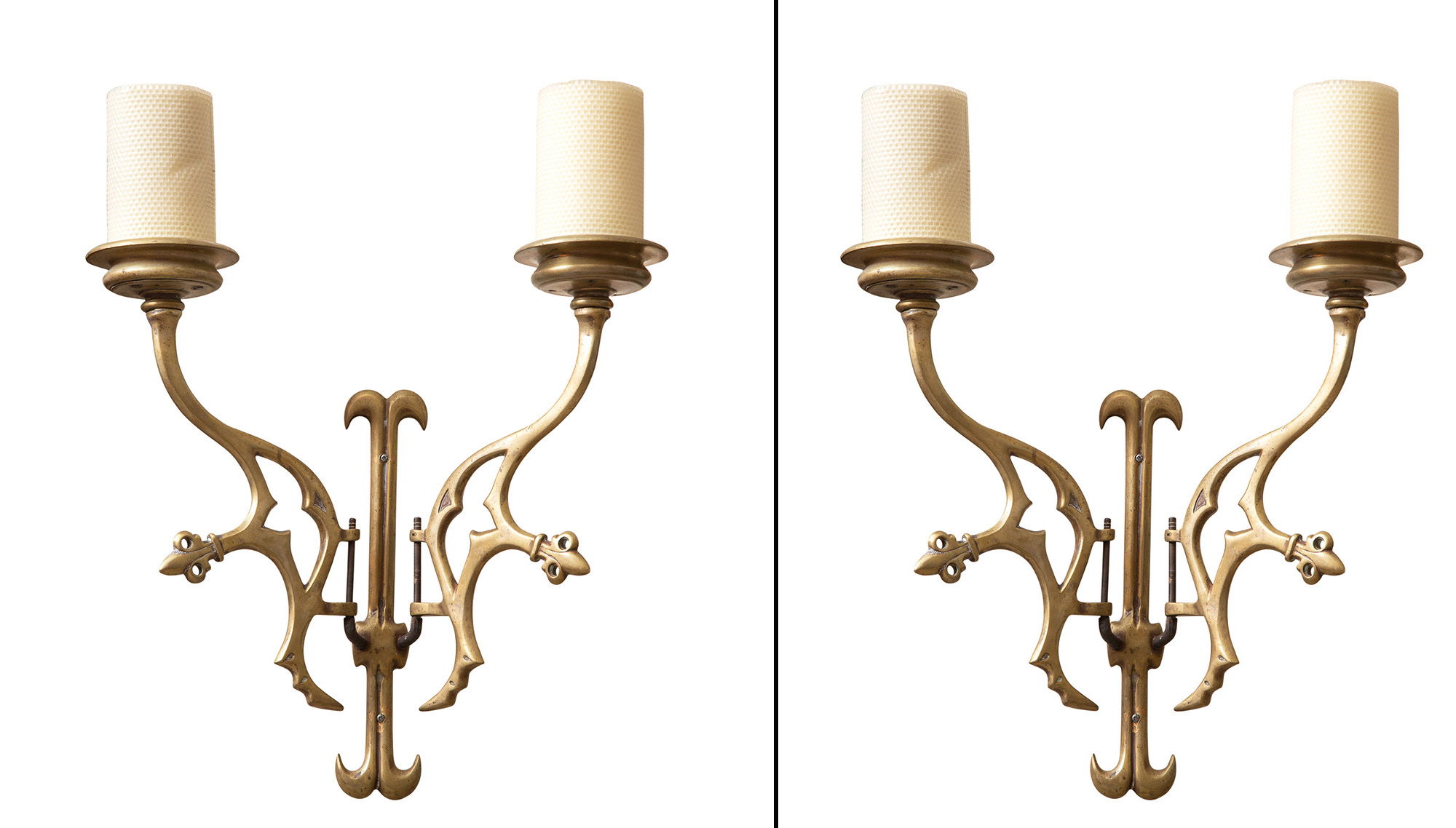 Lot image - Pair of Gothic Style Brass Two-Branch Sconces