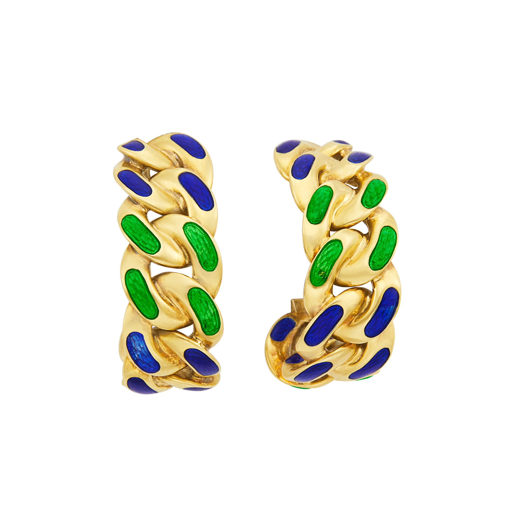 Lot image - Pair of Gold and Blue and Green Enamel Curb Link Hoop Earrings, Bulgari