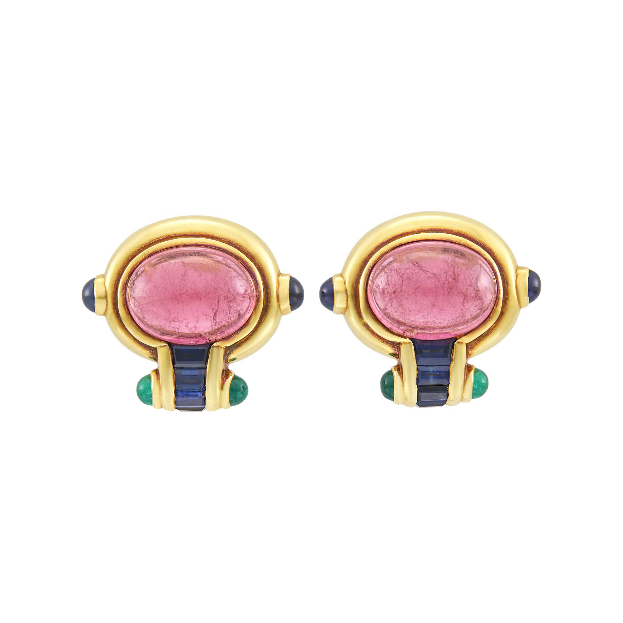 Lot image - Pair of Gold, Cabochon Pink Tourmaline, Sapphire and Cabochon Emerald Earrings