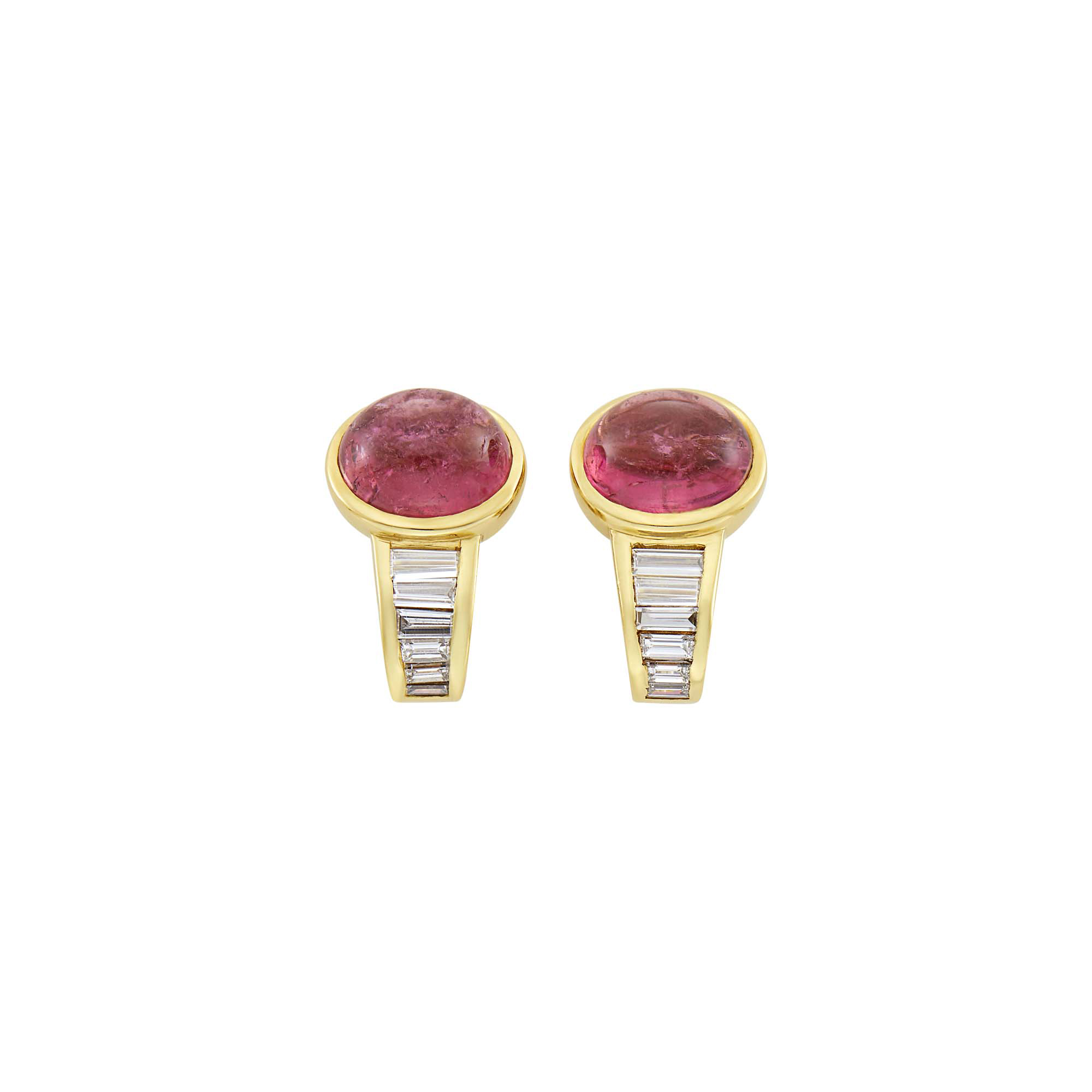 Lot image - Pair of Gold, Cabochon Pink Tourmaline and Diamond Earclips