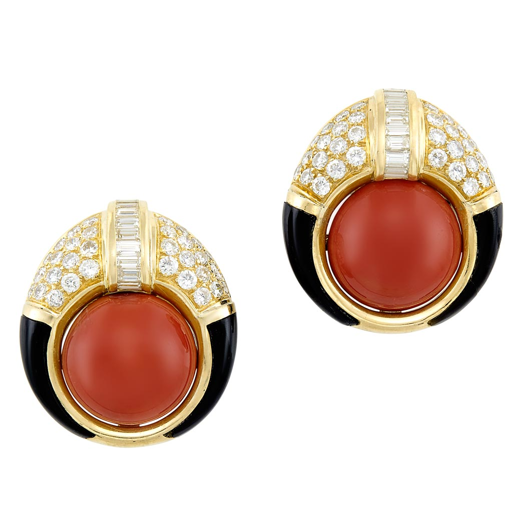 Lot image - Pair of Gold, Coral, Diamond and Black Onyx Earclips