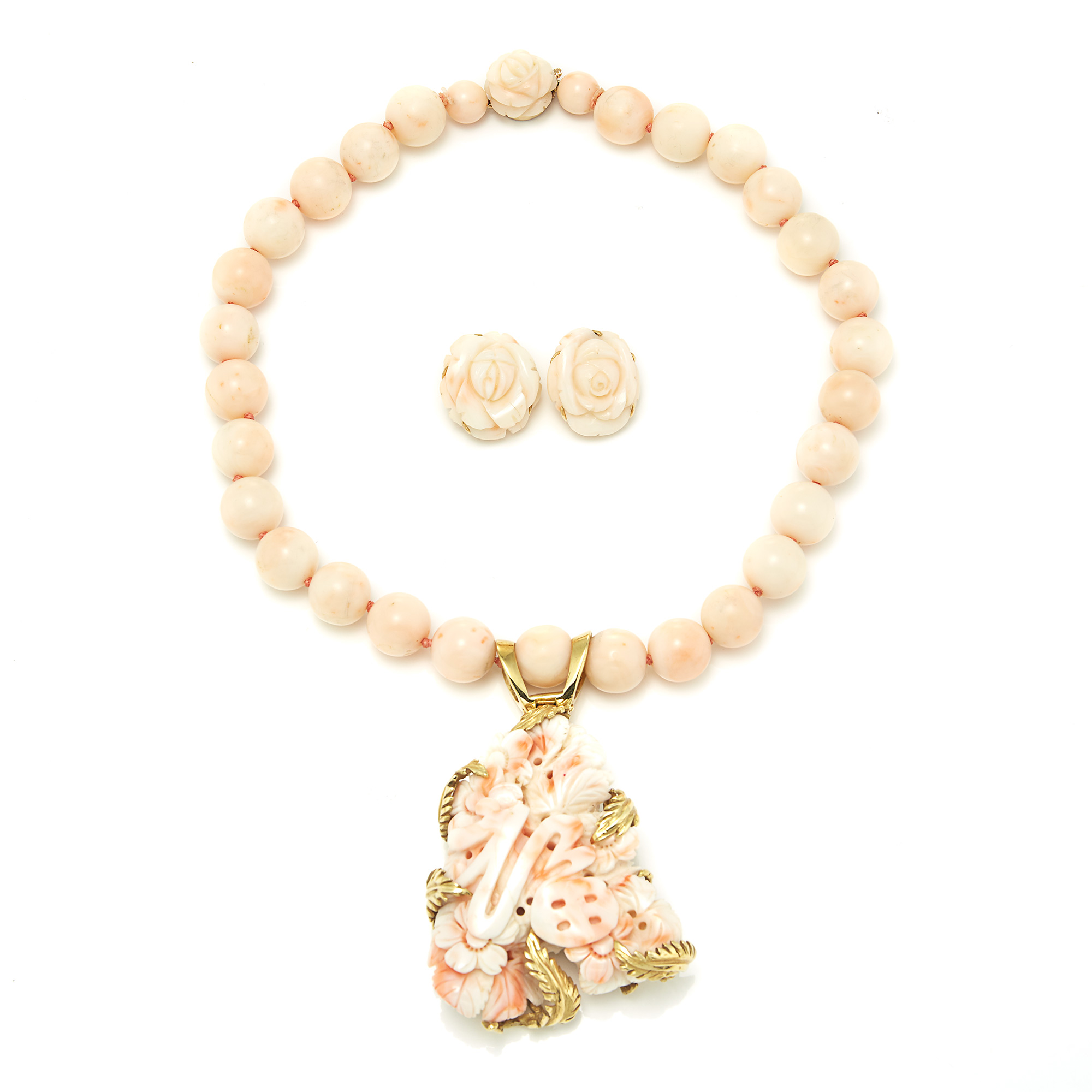 Lot image - Gold and Angel Skin Coral Necklace and Pair of Earrings