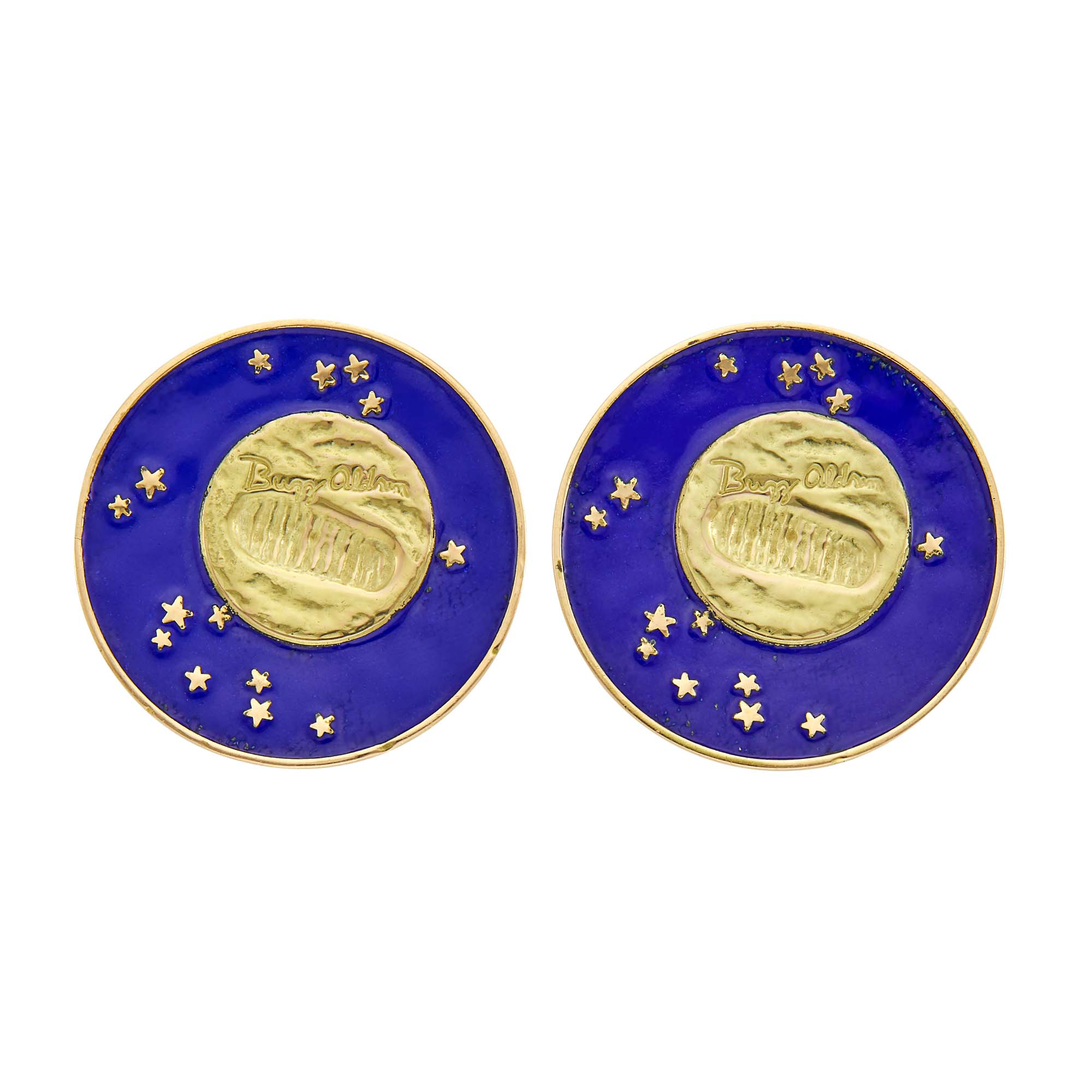Lot image - Tiffany & Co. Pair of Gold and Blue Enamel Lunar Landing Earclips