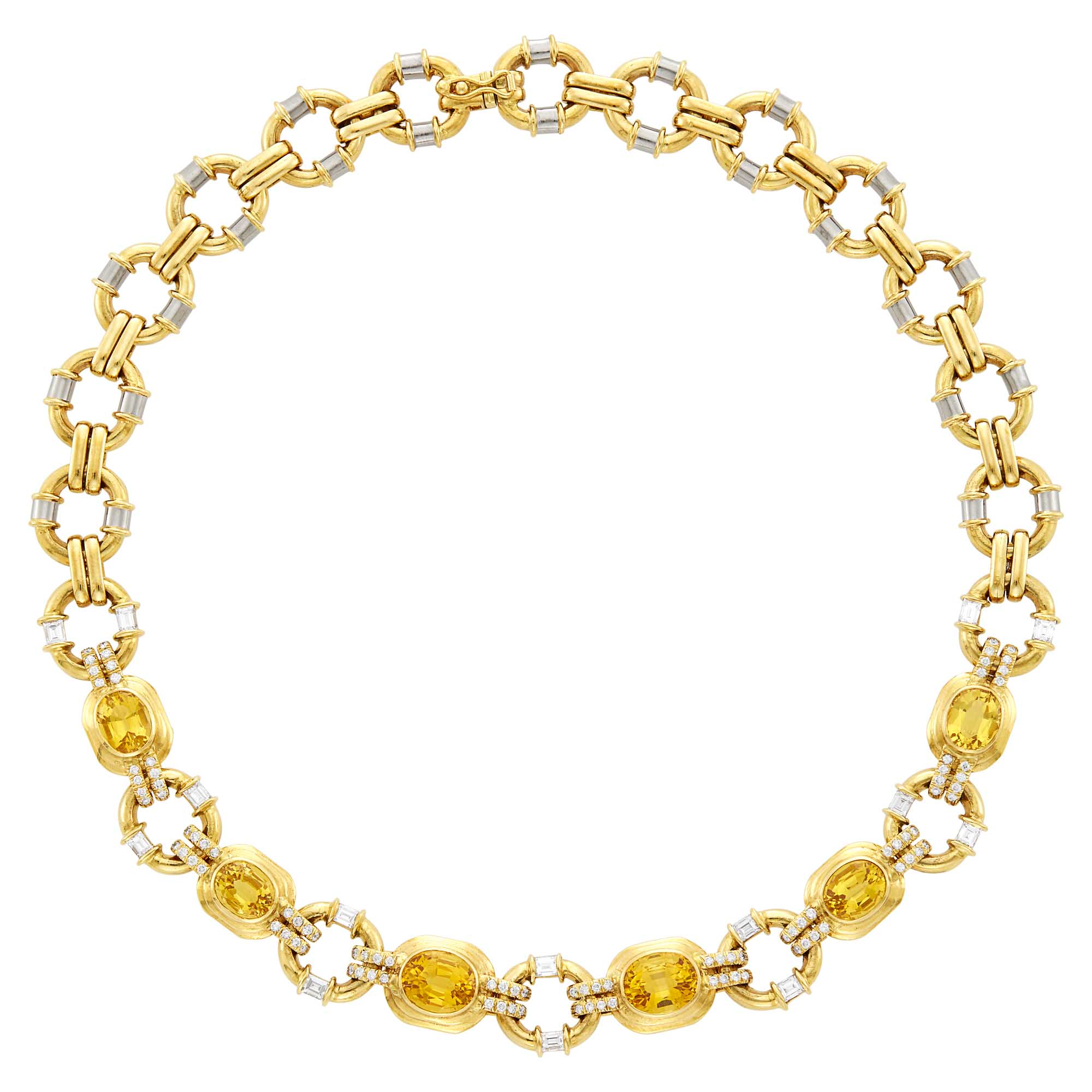Lot image - Two-Color Gold, Citrine and Diamond Necklace