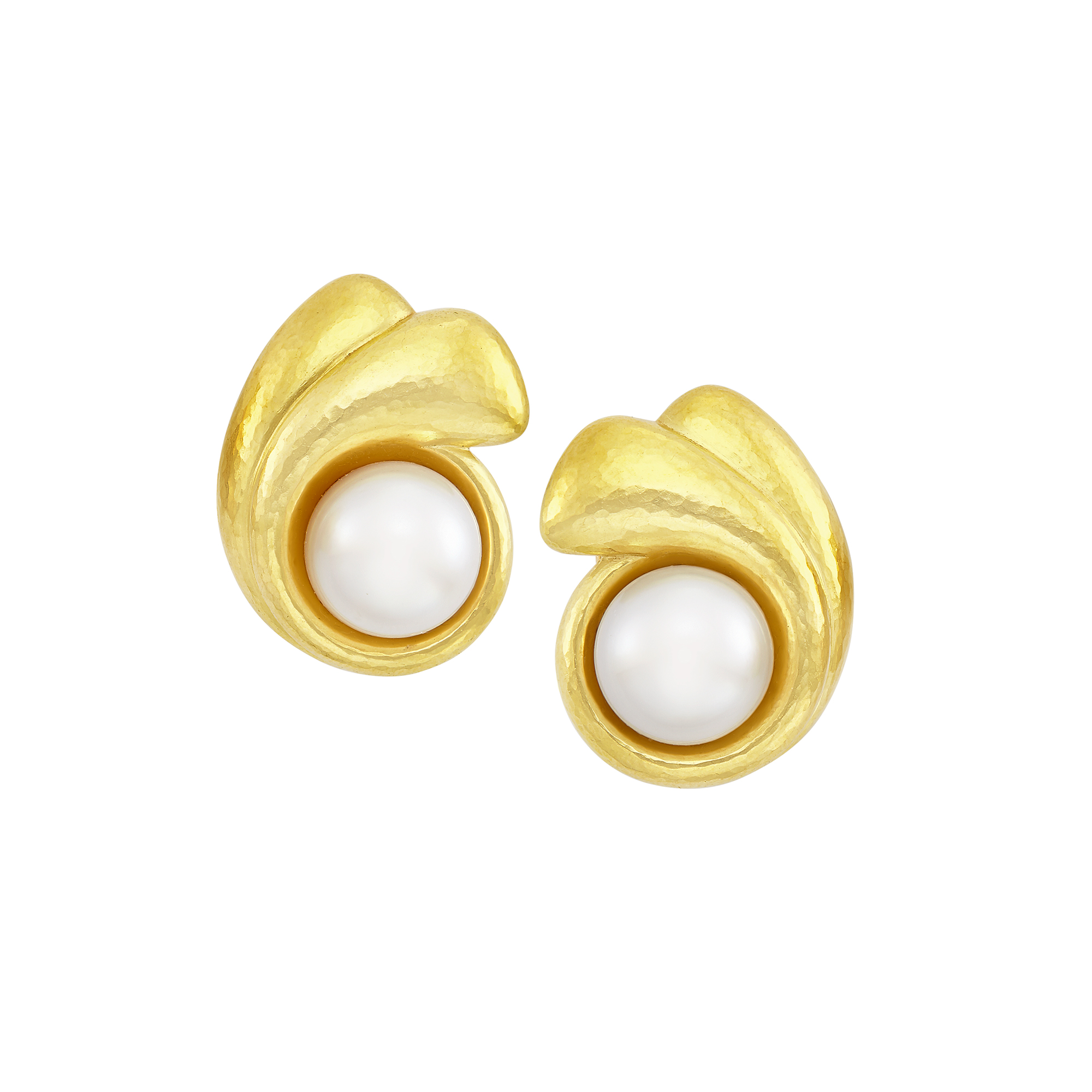 Lot image - Pair of Hammered Gold and South Sea Cultured Pearl Earclips, de Vroomen