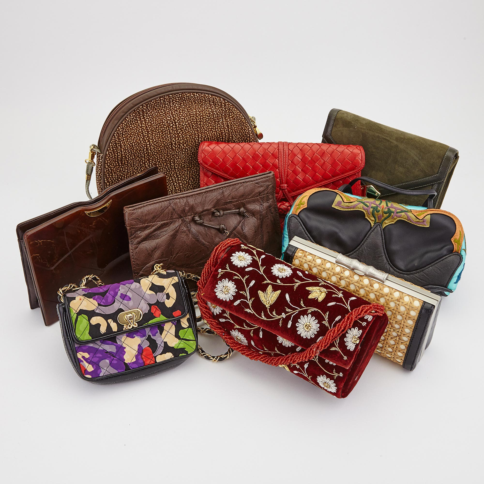 Lot image - Nine Suede, Leather, Velvet, Calf Skin and Rattan Handbags and Clutches