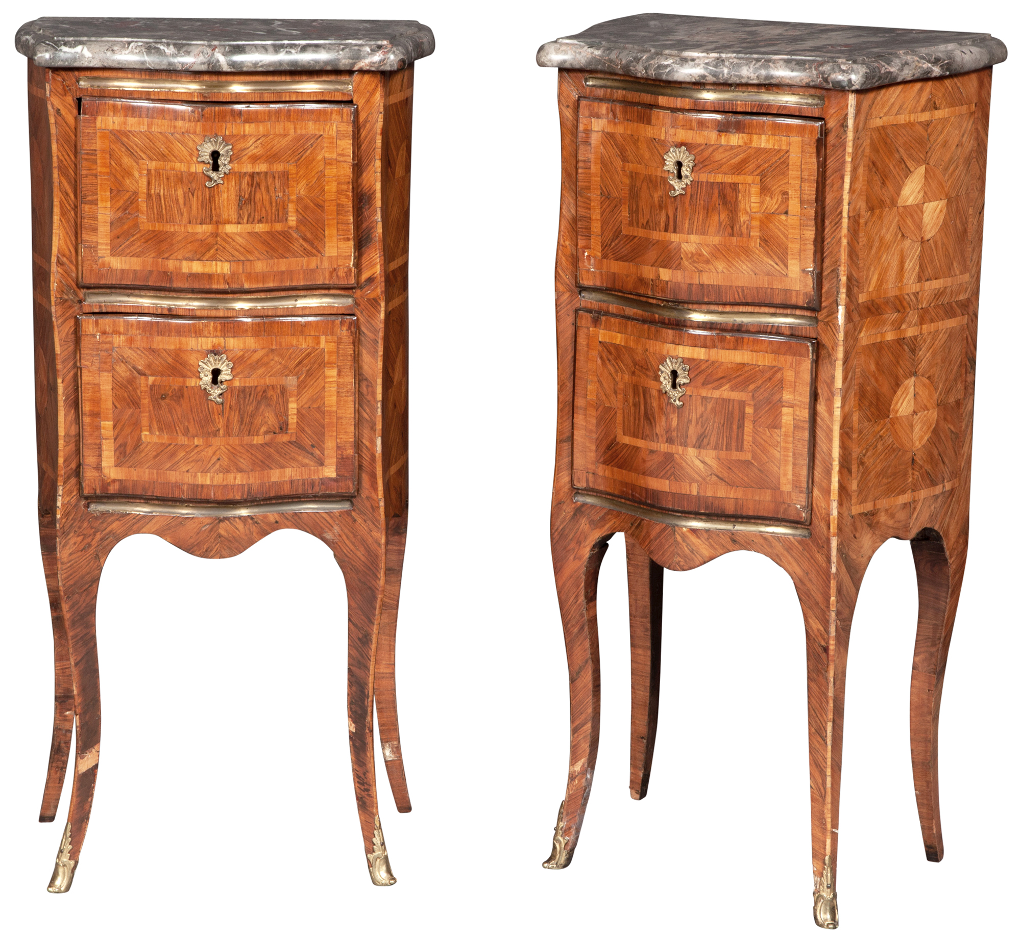 Lot image - Pair of Louis XV Style Kingwood Parquetry, Marble and Brass-Mounted Tables en Chiffoniere