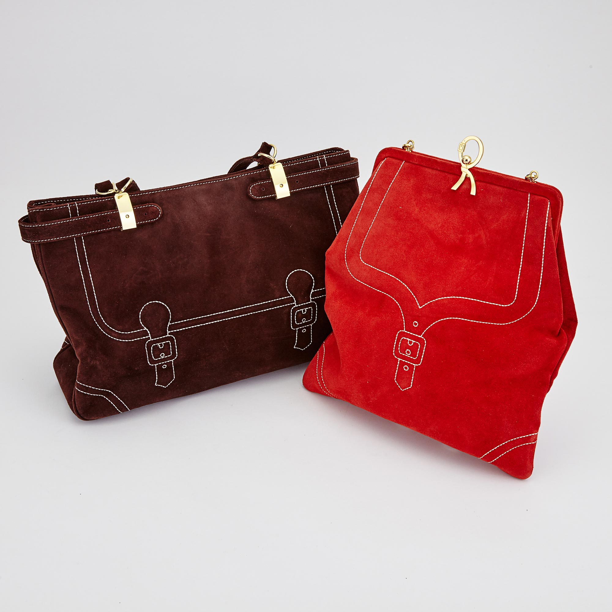 Lot image - Two Red and Brown Suede Handbags, Roberta di Camerino