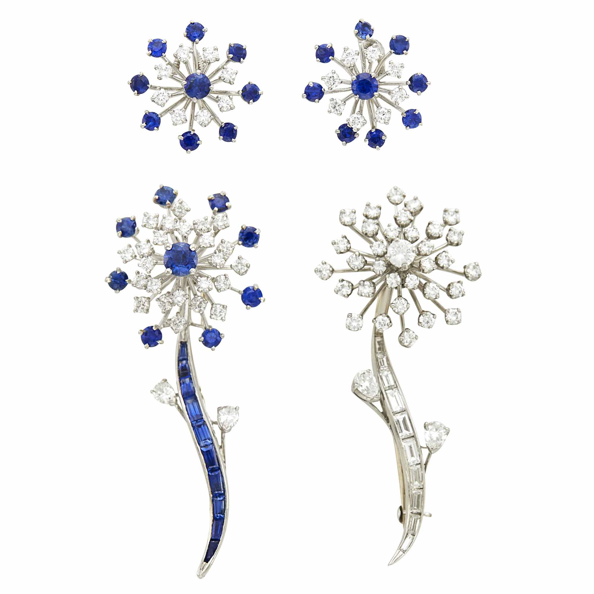 Lot image - Oscar Heyman Brothers Pair of Platinum, Sapphire and Diamond Flower Brooches and Pair of Earrings