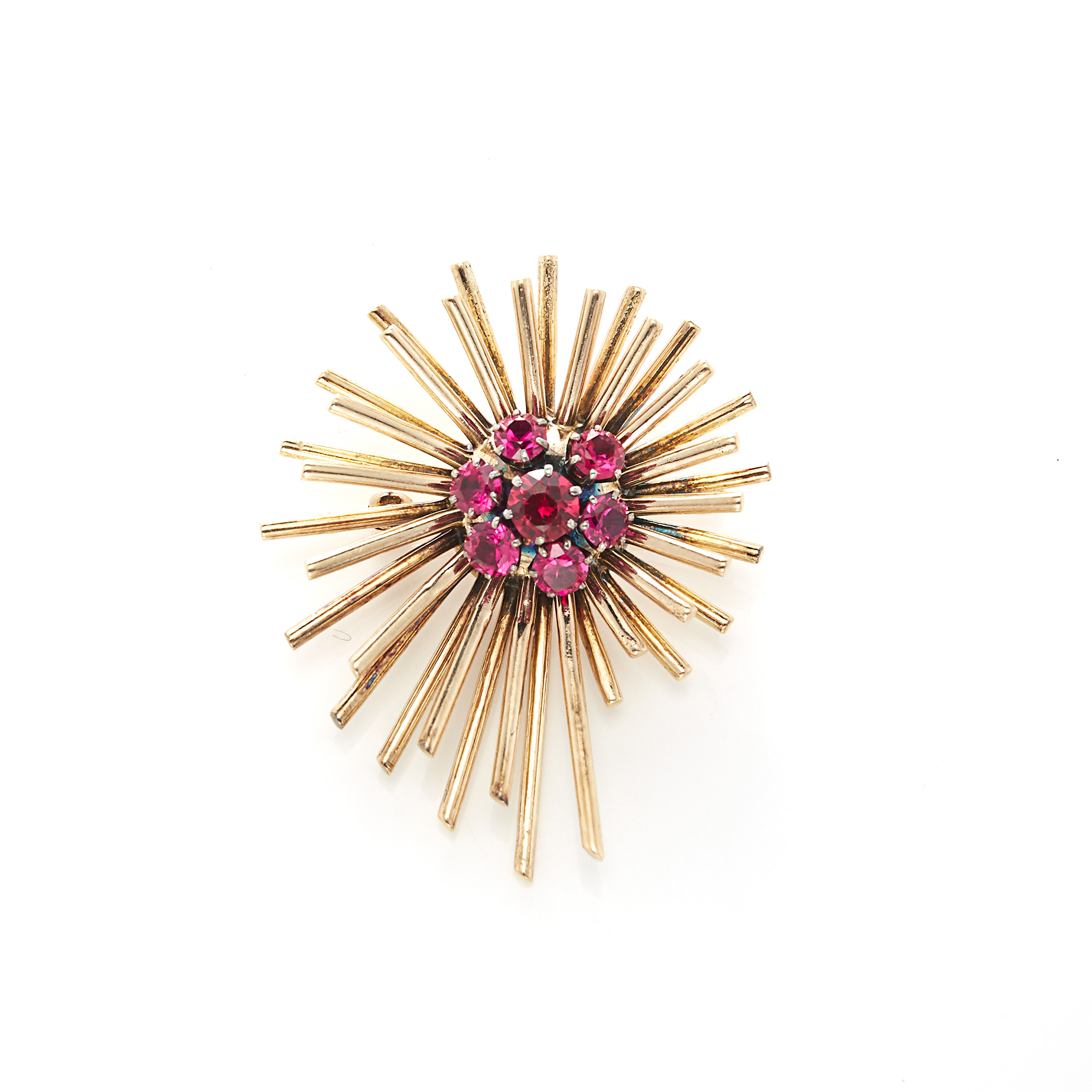 Lot image - Gold and Synthetic Ruby Starburst Brooch