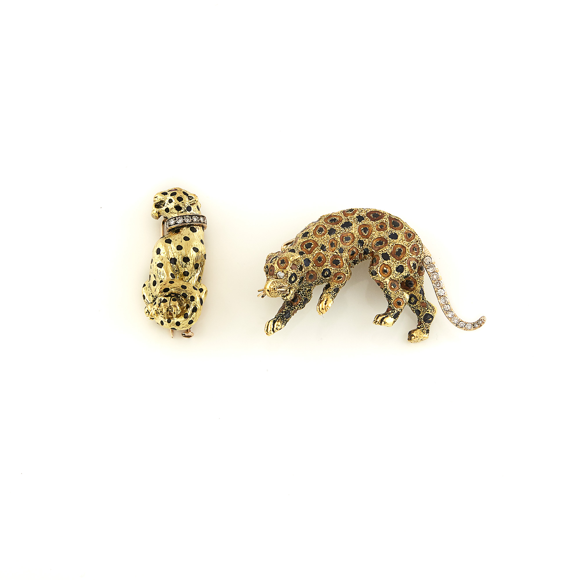 Lot image - Two Gold, Diamond and Enamel Leopard Brooches