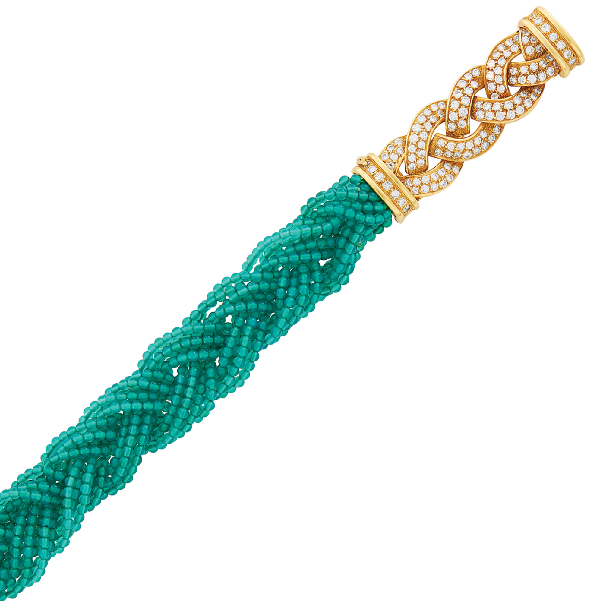 Lot image - Braided Green Onyx Bead, Gold and Diamond Bracelet, Van Cleef & Arpels, France