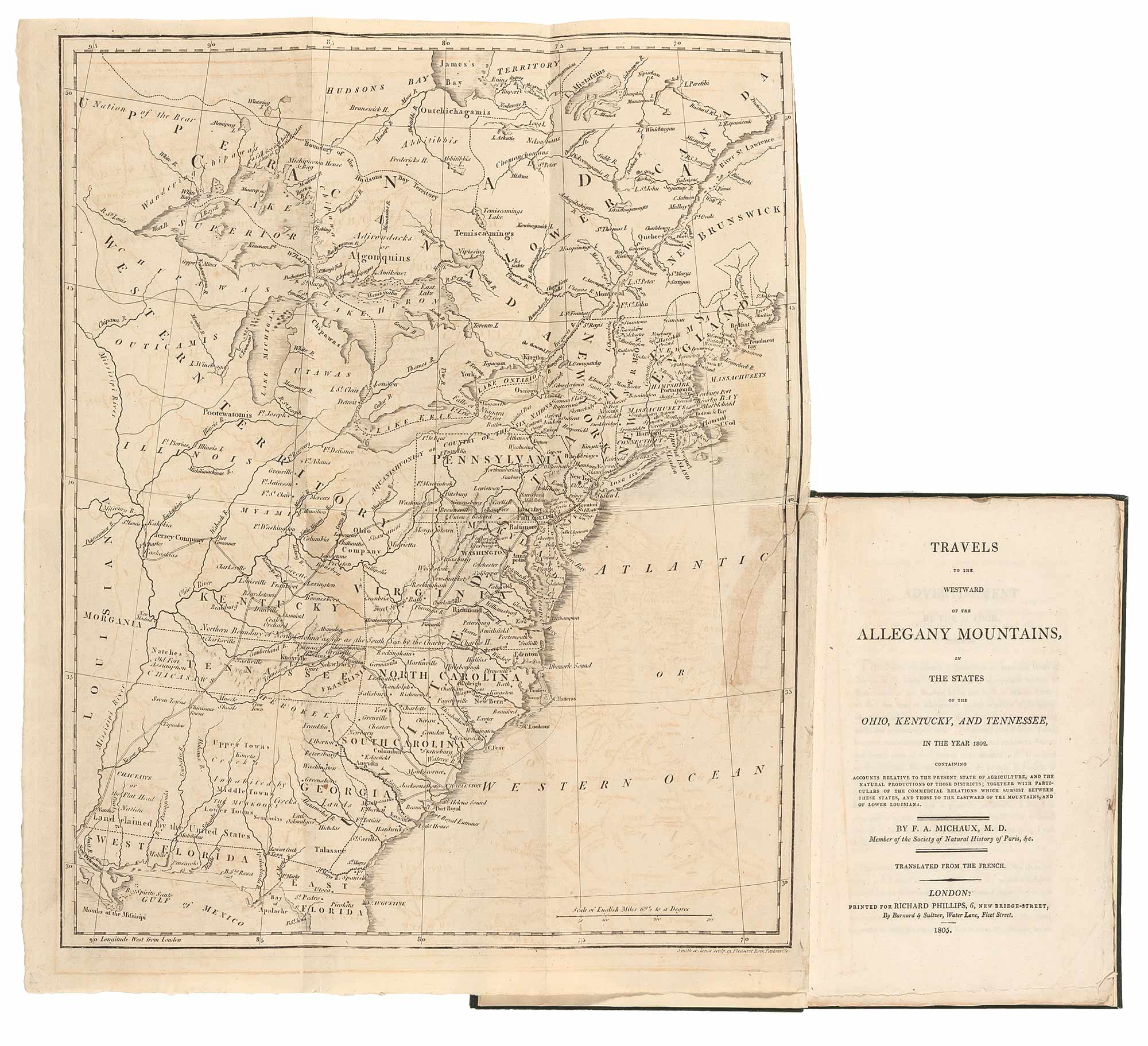Lot image - MICHAUX, F.[RANCOIS] A.  Travels to the westward of the Allegany Mountains in the states of the Ohio, Kentucky and Tennessee in the year 1802...