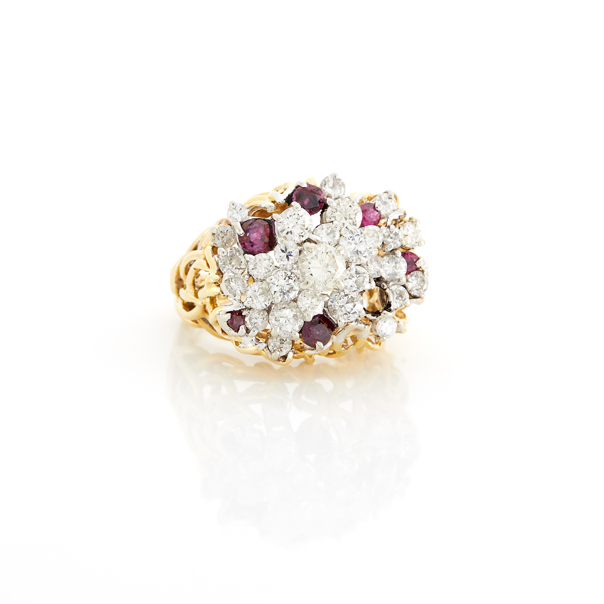 Lot image - Two-Color Gold, Diamond and Ruby Ring