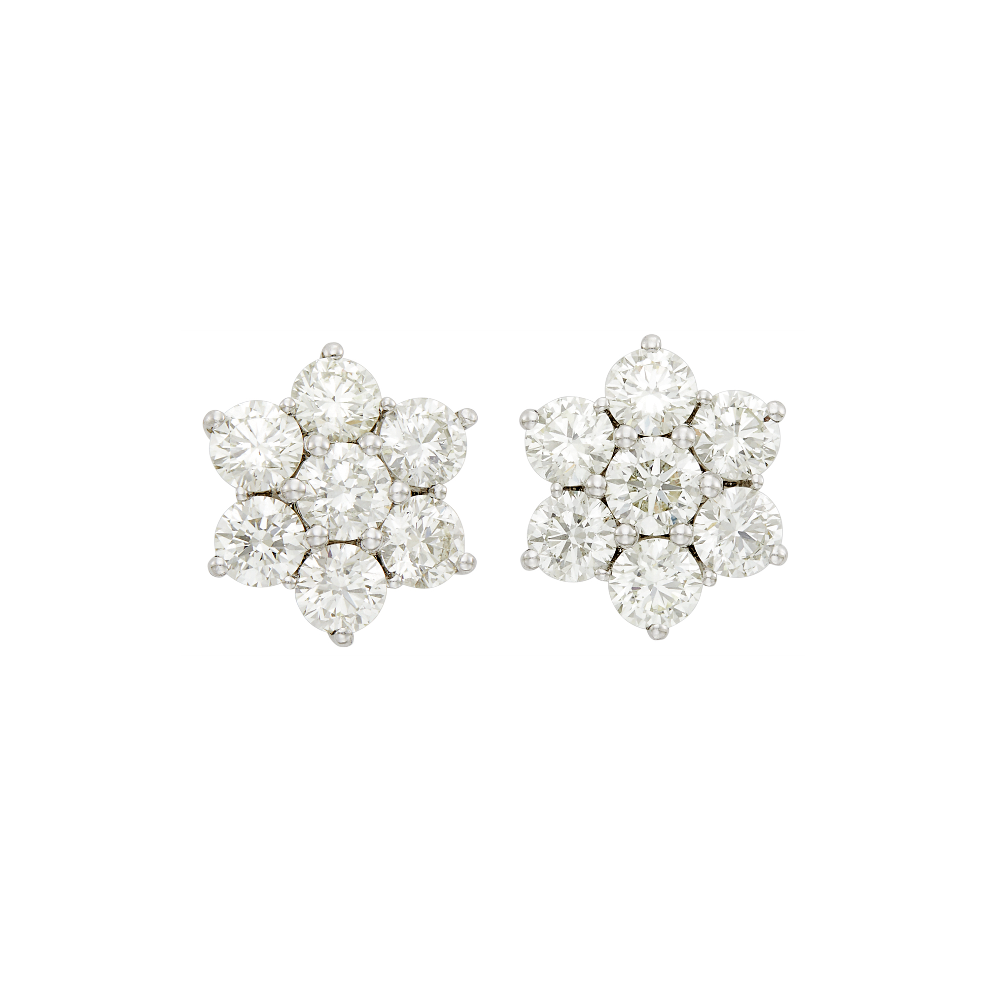 Lot image - Pair of Platinum and Diamond Floret Earrings