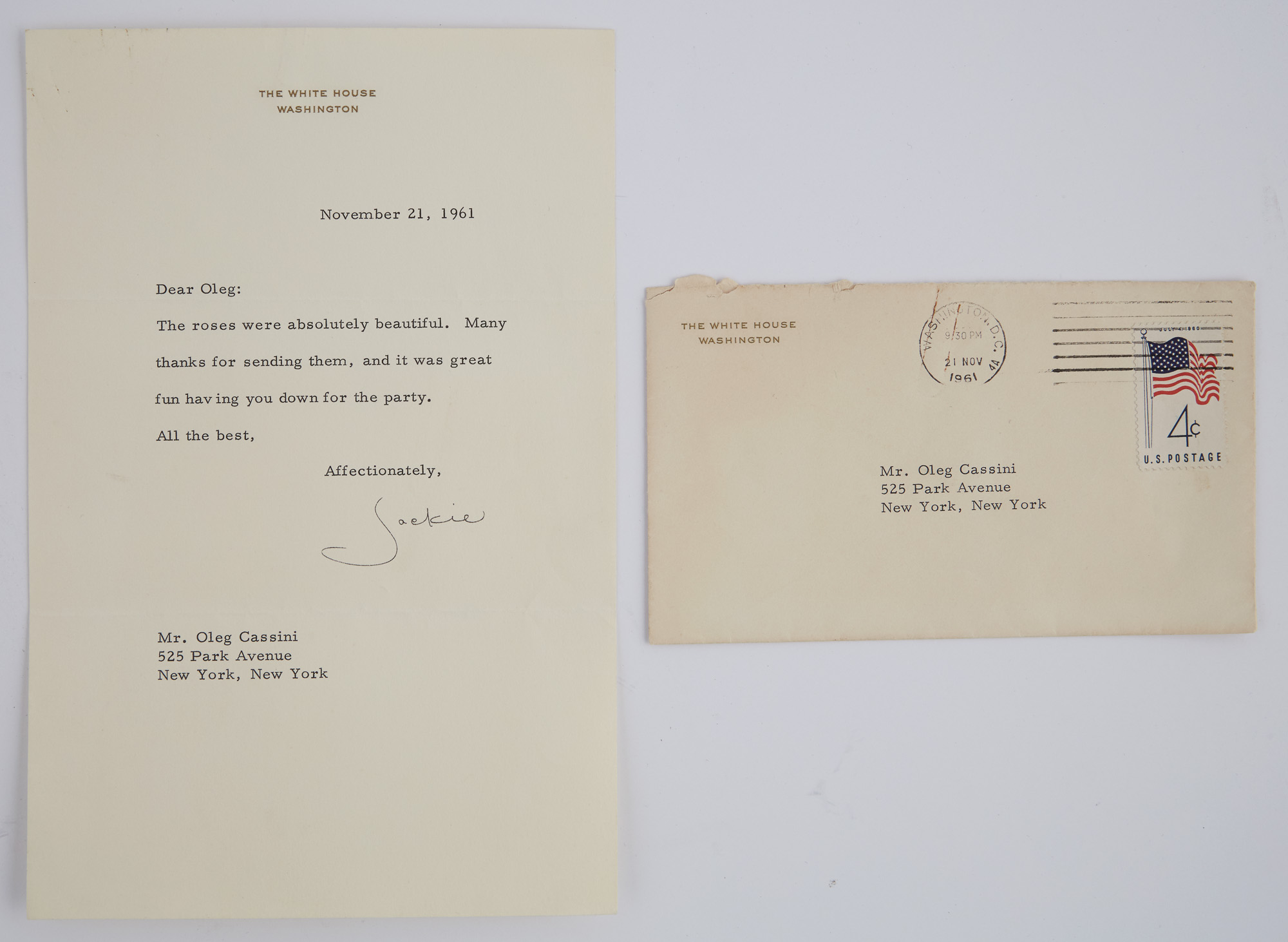 Lot image - KENNEDY, JACQUELINE as FIRST LADY  Typed letter to Oleg Cassini.
