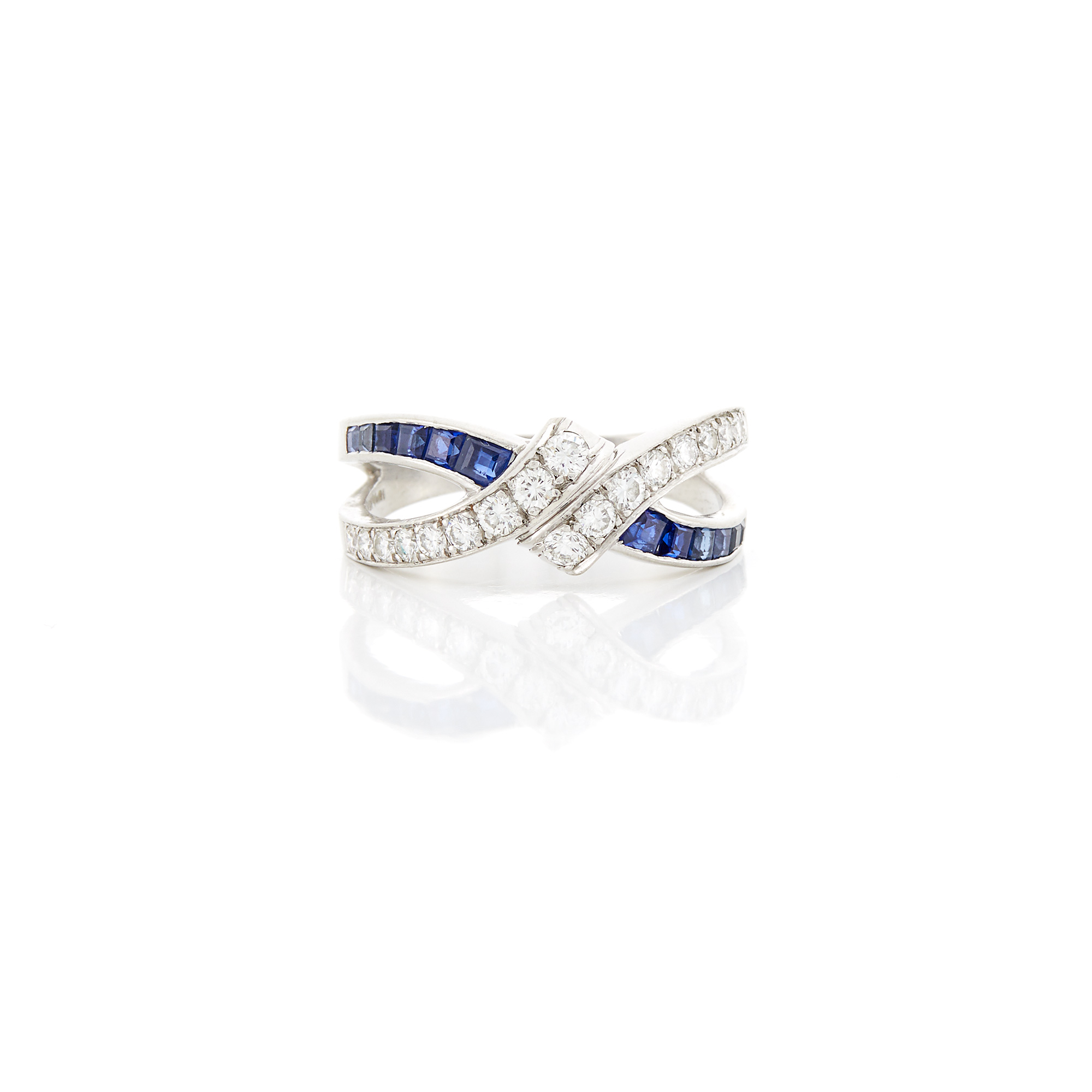 Lot image - Platinum, Sapphire and Diamond Bypass Ring
