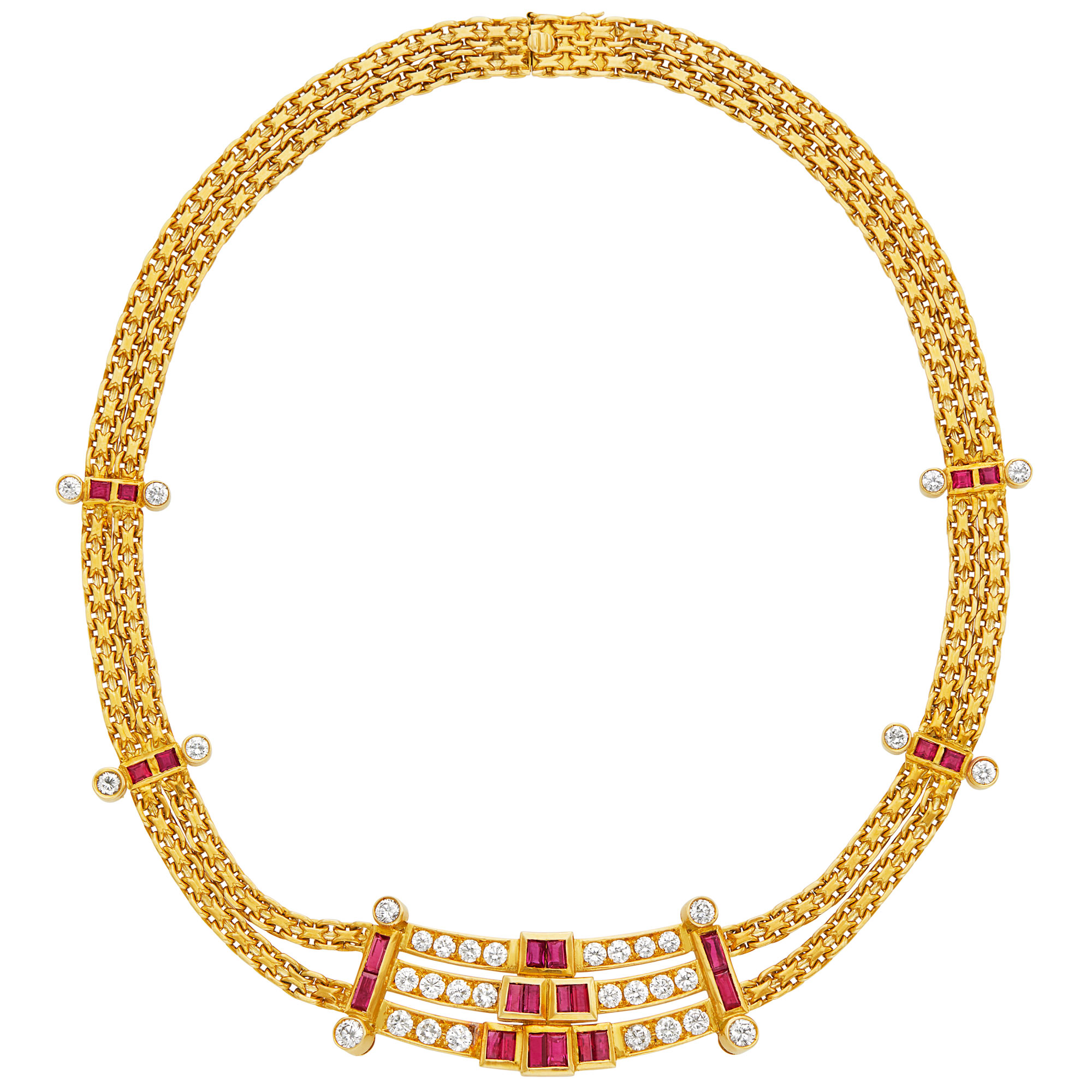 Lot image - Double Strand Gold, Ruby and Diamond Necklace