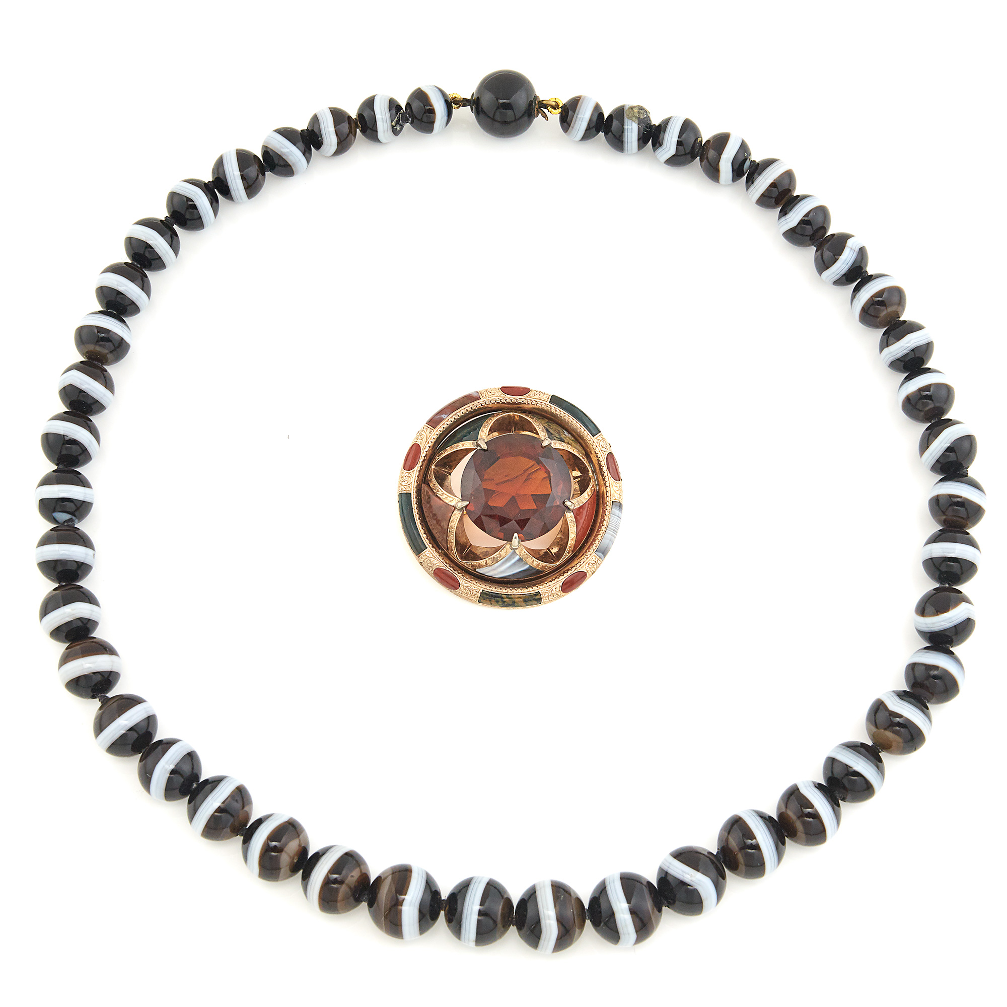 Lot image - Banded Agate Bead Necklace and Scottish Agate and Citrine Brooch