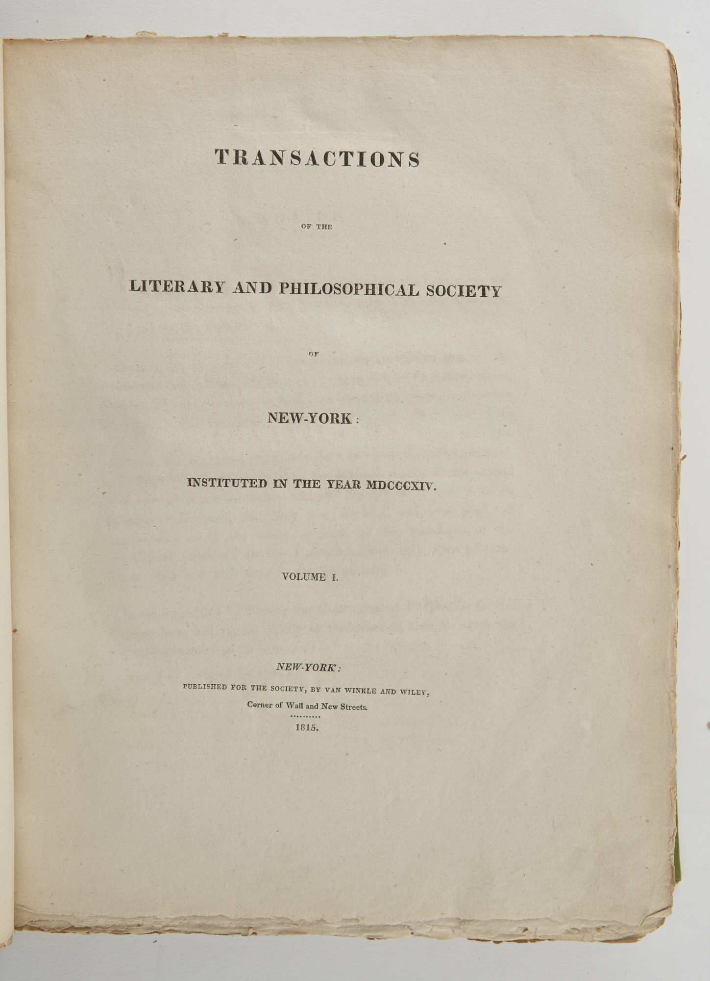 Lot image - [ANGLING]  [DE WITT, CLINTON; MITCHILL, SAMUEL, et al.]  Transactions of the Literary and Philosophical Society of New-York: Instituted in the Year MDCCCXIV. Volume I only.