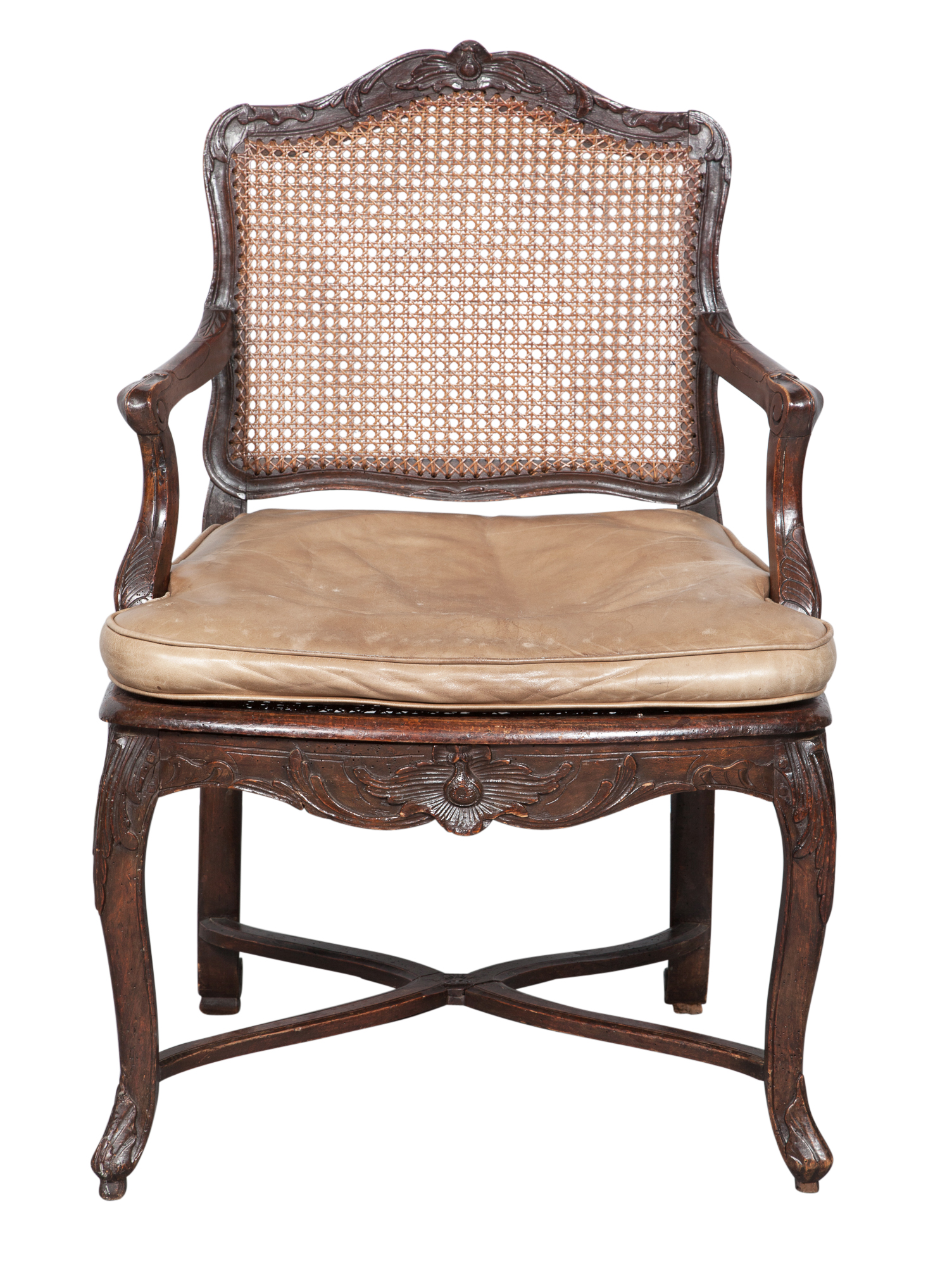 Lot image - Régence Stained Beechwood and Caned Fauteuil à la Reine