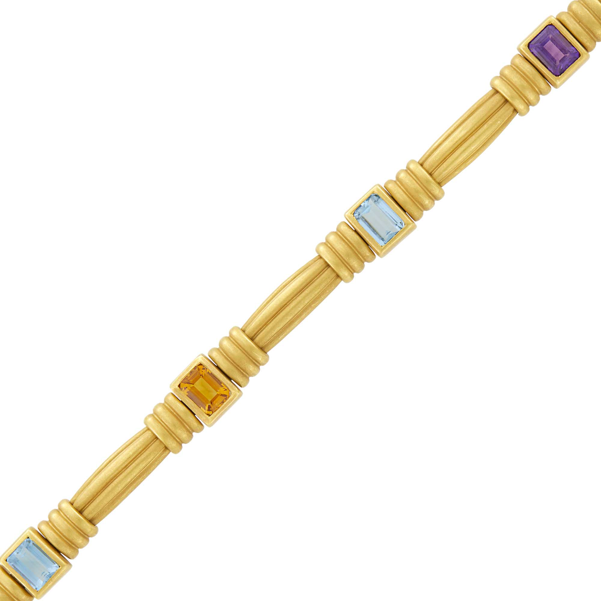 Lot image - Gold and Colored Stone Bracelet