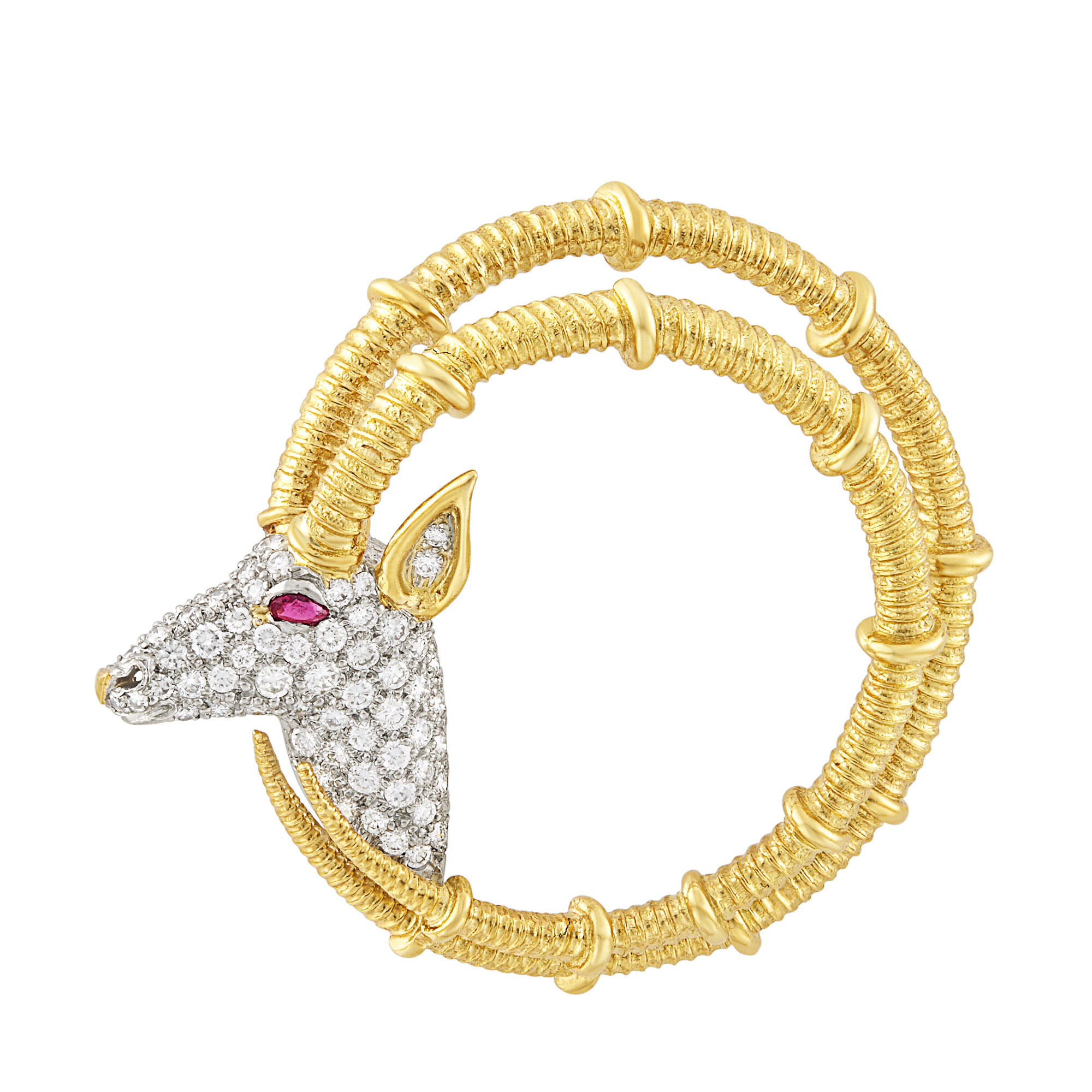 Lot image - Gold, Platinum, Diamond and Ruby Ibex Brooch, Tiffany & Co., Schlumberger