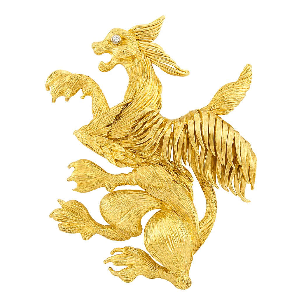 Lot image - Gold and Diamond Griffin Clip-Brooch, Ilias Lalaounis