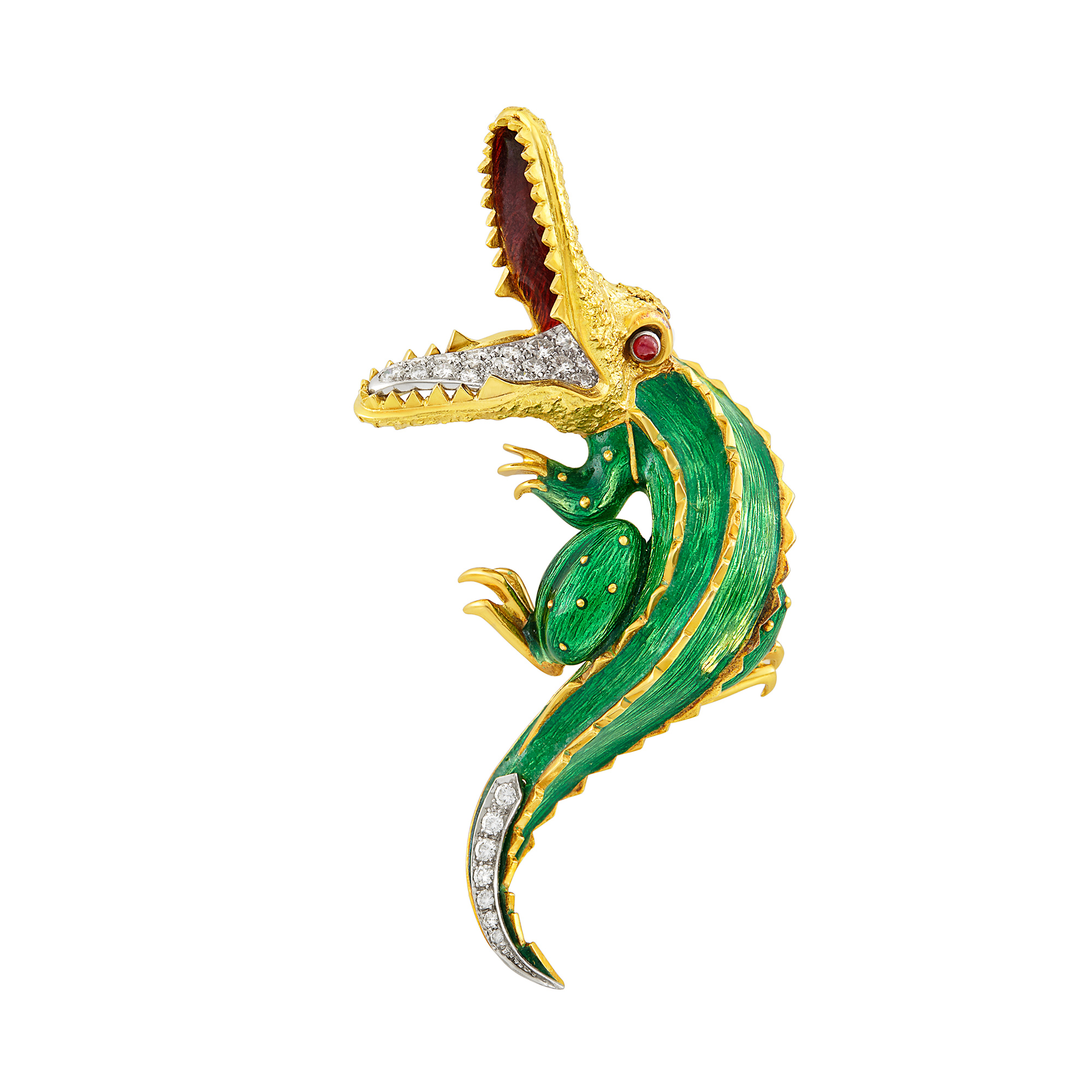 Lot image - Two-Color Gold, Enamel, Diamond and Cabochon Ruby Alligator Brooch