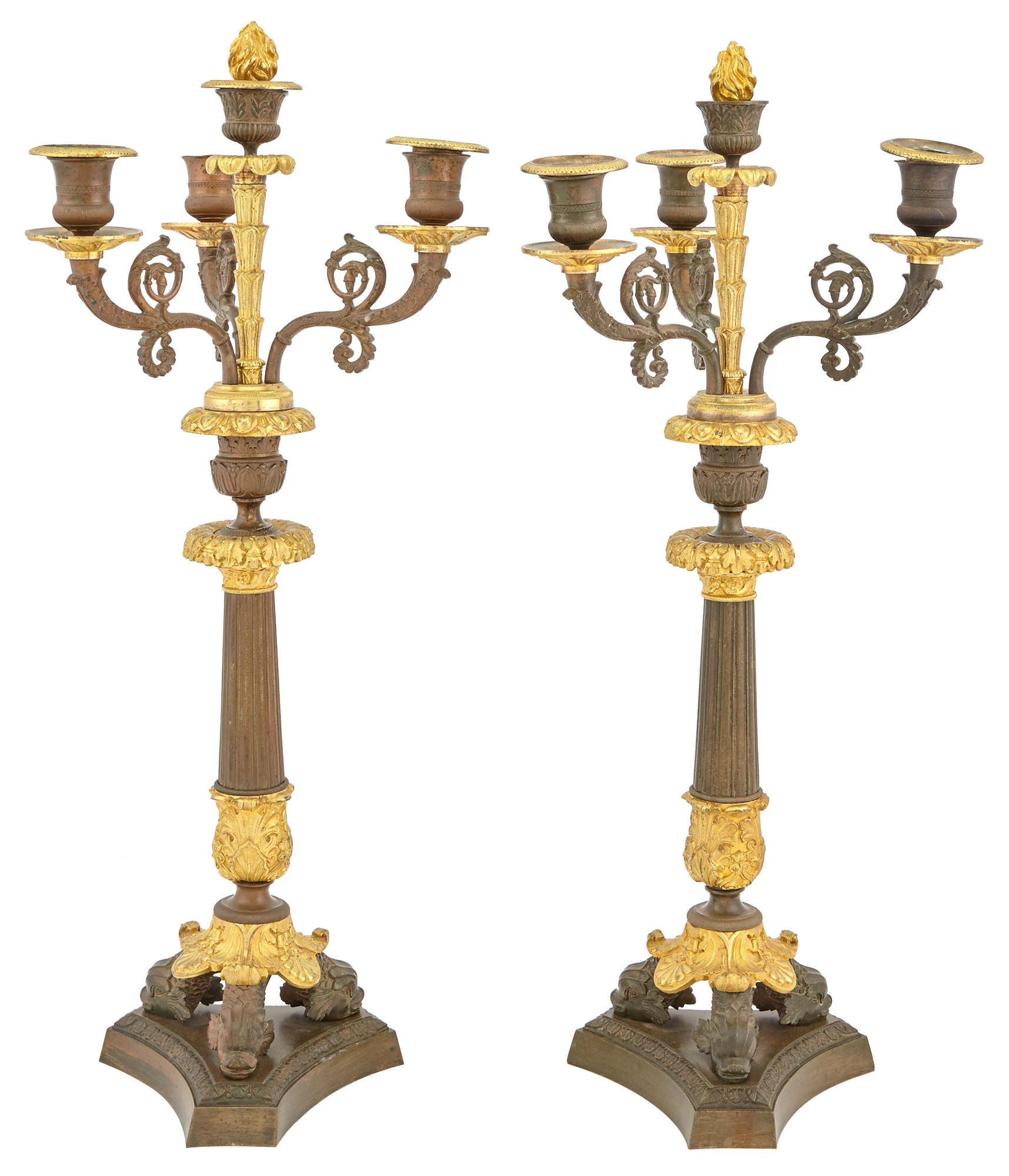 Lot image - Pair of Restauration Gilt and Patinated-Bronze Four-Light Candelabra