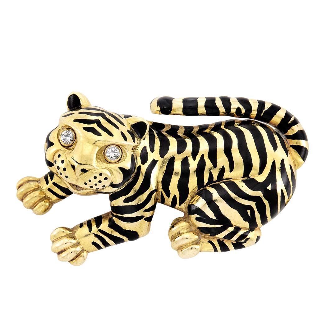 Lot image - Gold, Black Enamel and Diamond Tiger Clip-Brooch, David Webb