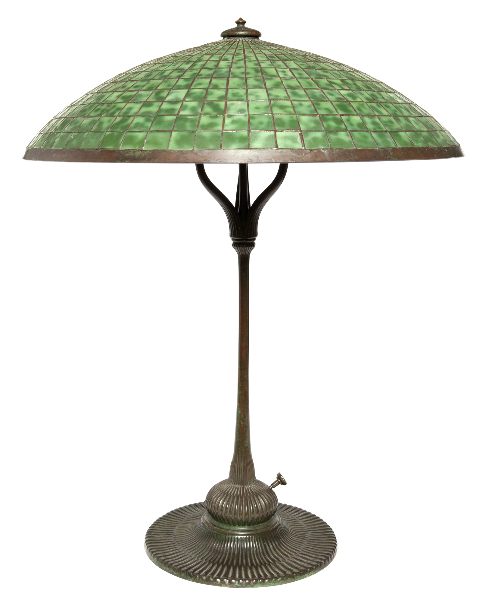Lot image - Tiffany Studios Bronze and Leaded Glass Parasol Library Lamp