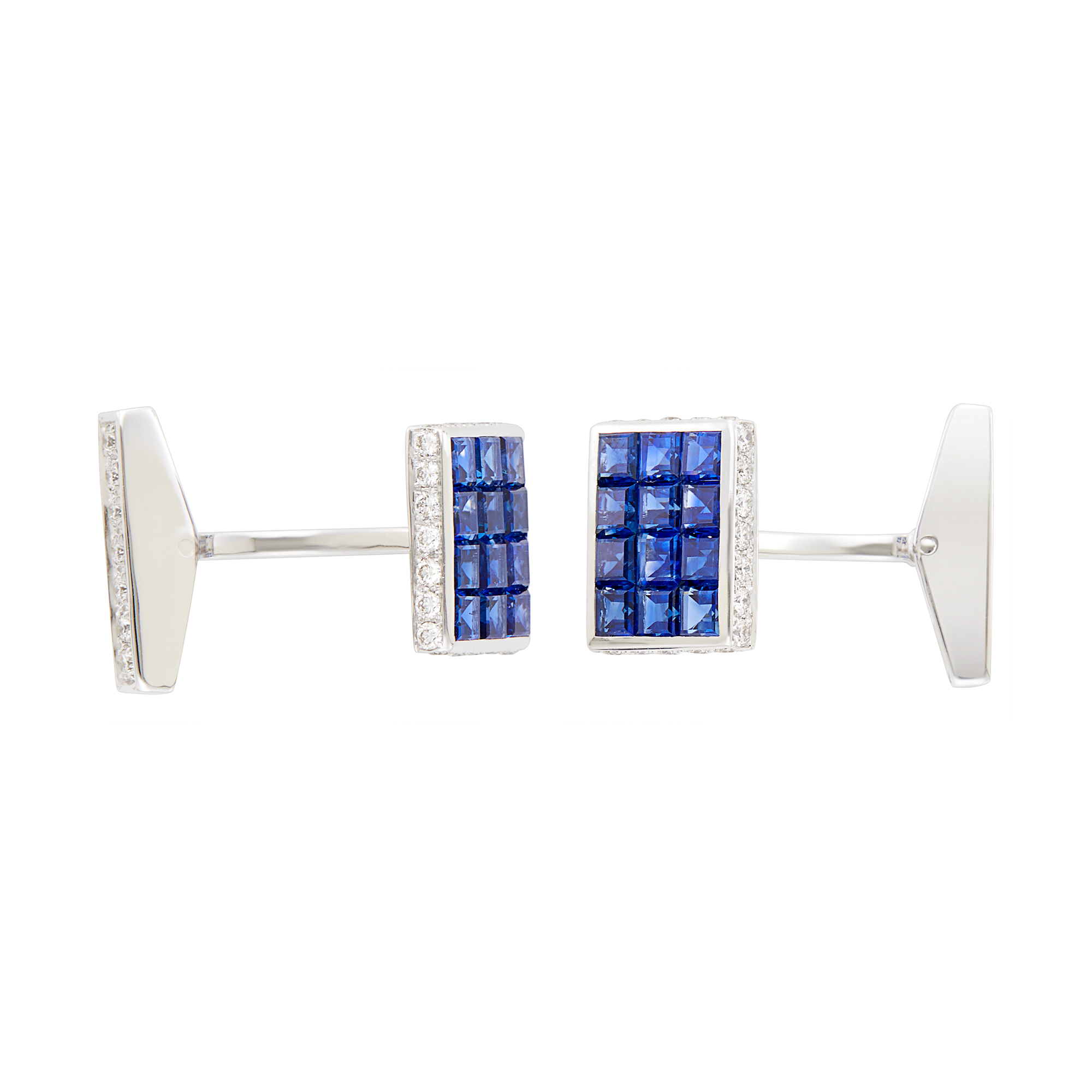 Lot image - Pair of White Gold, Invisibly-Set Sapphire and Diamond Cufflinks