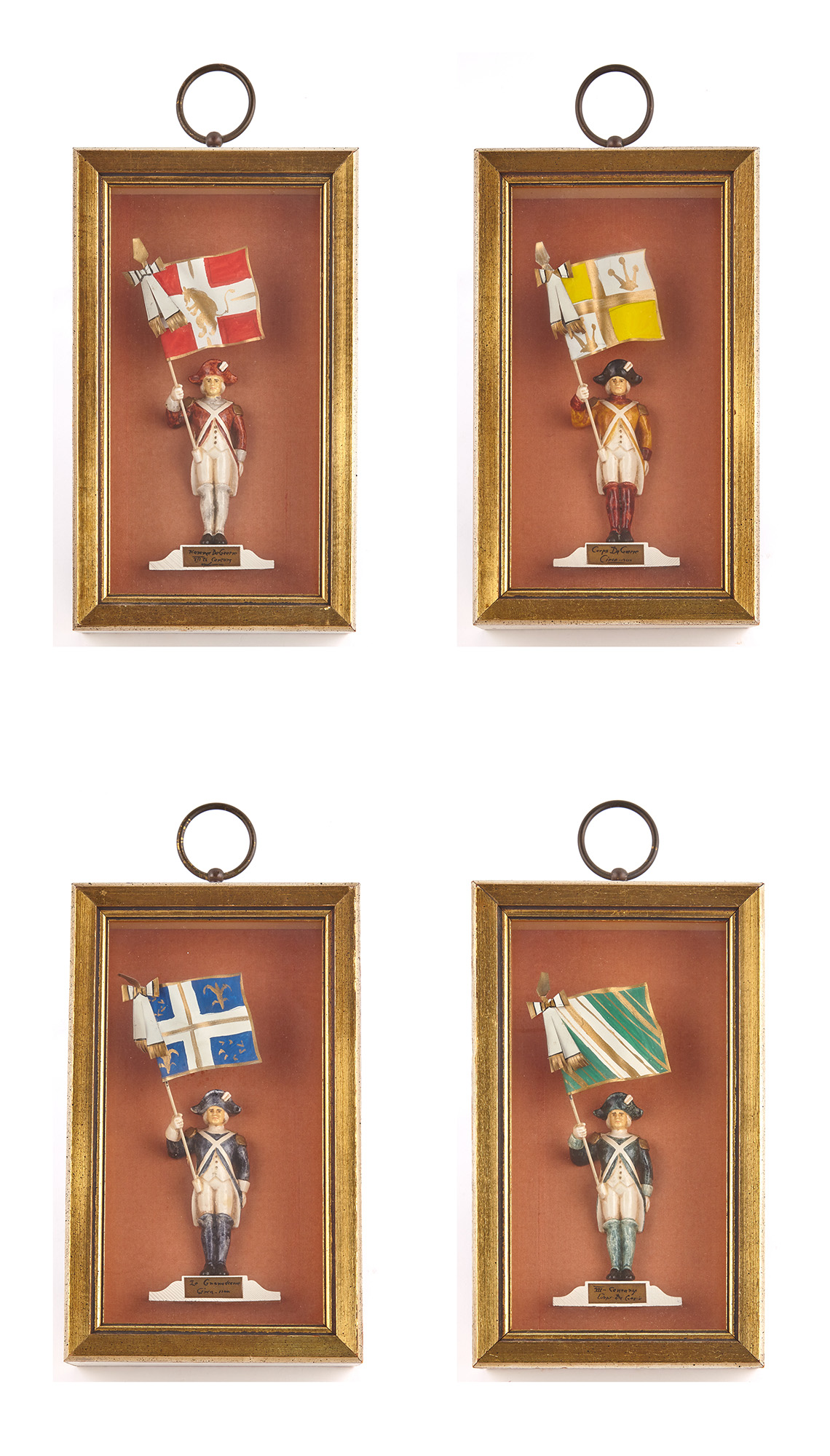 Lot image - Four Shadow Boxes with Figures of French Soldiers in 18th Century Costumes